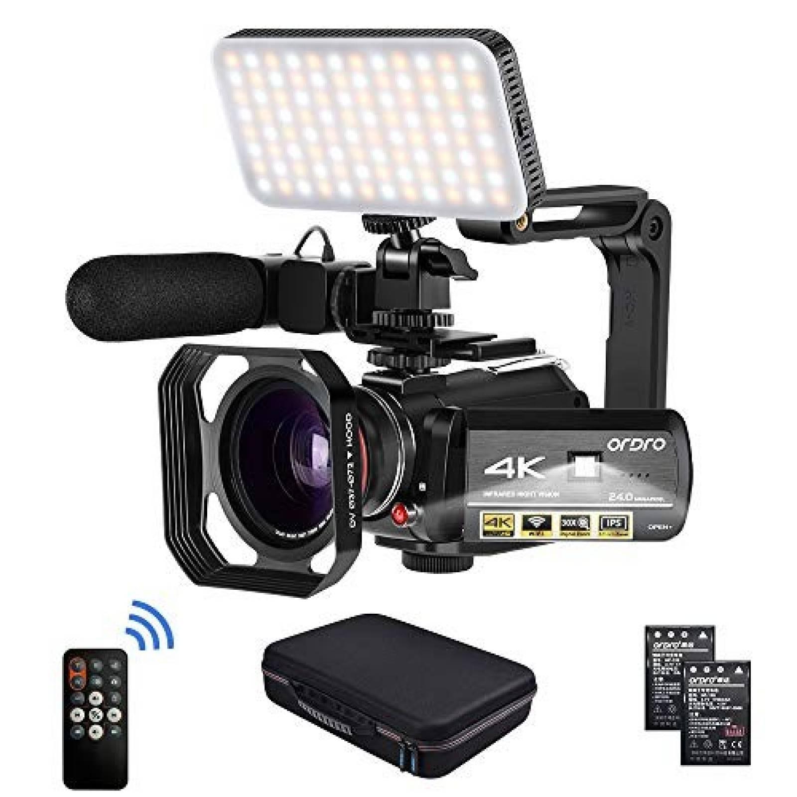 Videocámara ORDRO HDR-AC3 4K 24 FPS Visión Nocturna Luz LED
