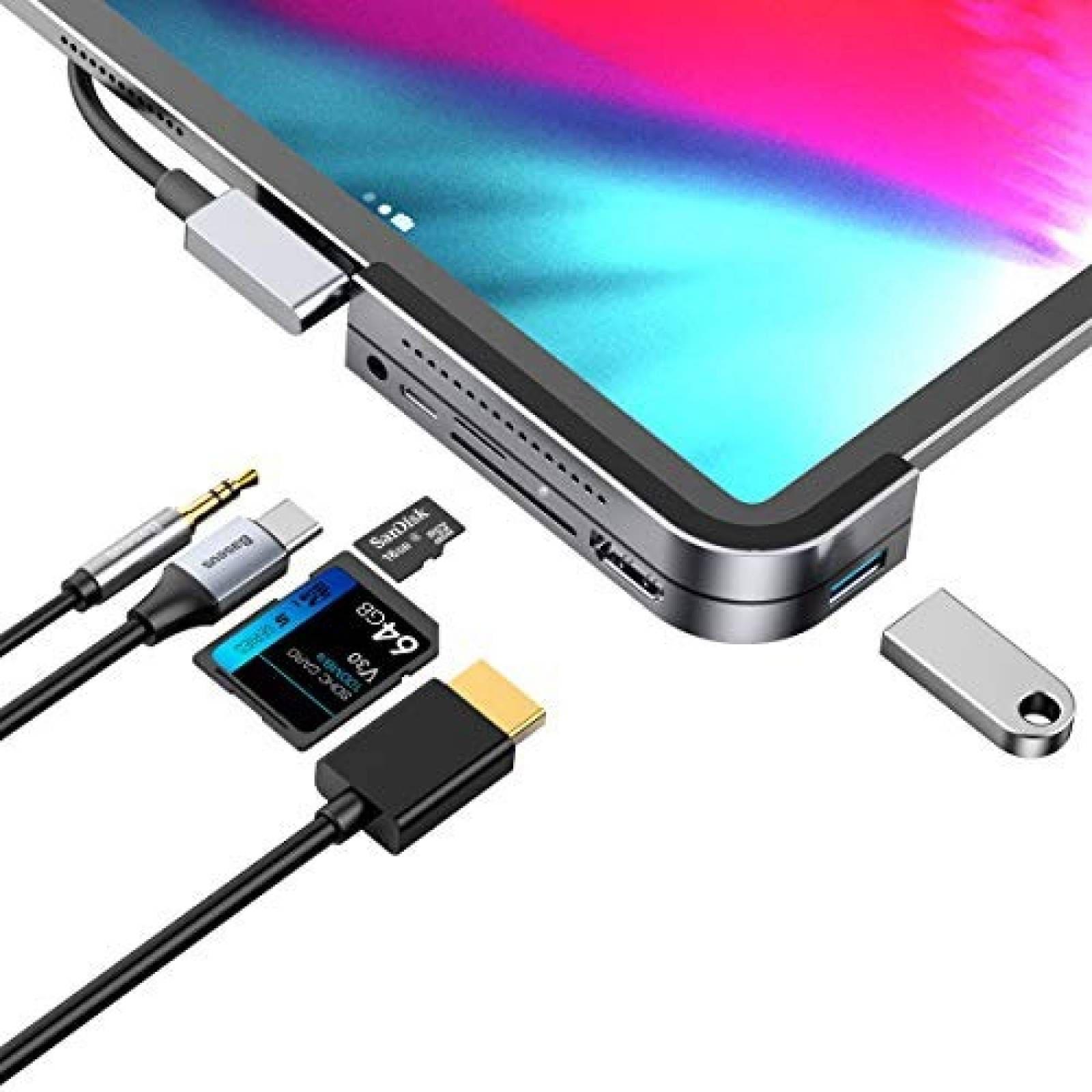 Base de Carga Baseus HubUSB C para iPad Pro HDMI Tarjeta SD