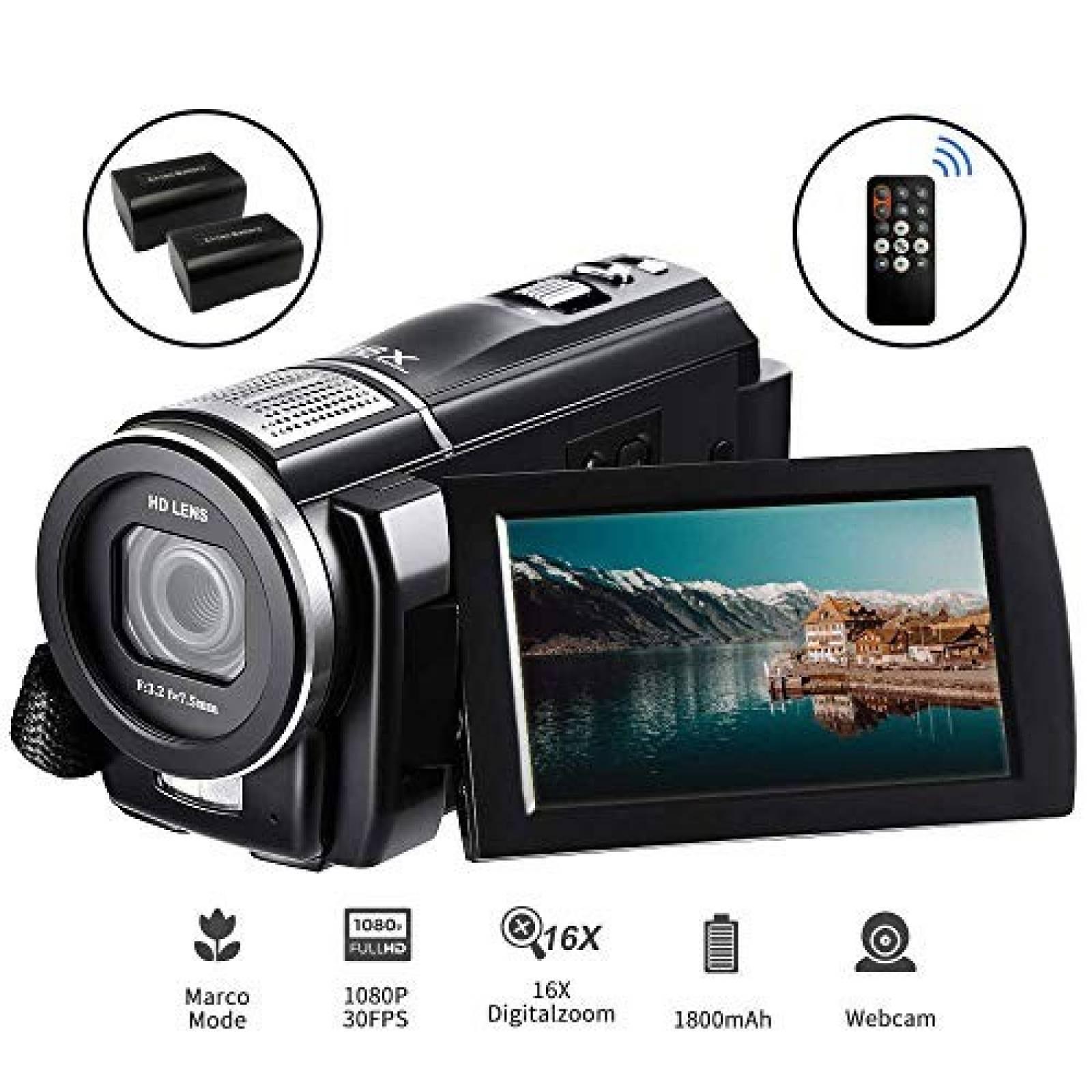 Kit cámara de video ORDRO 24 MP Full HD control y 2 baterías