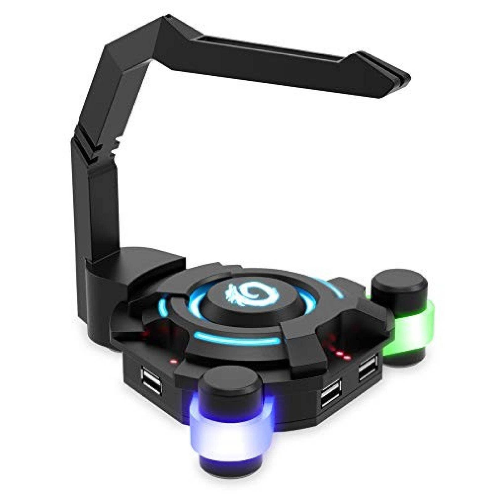 Soporte de cable VersionTECH. para mouse gamer RGB -Negro