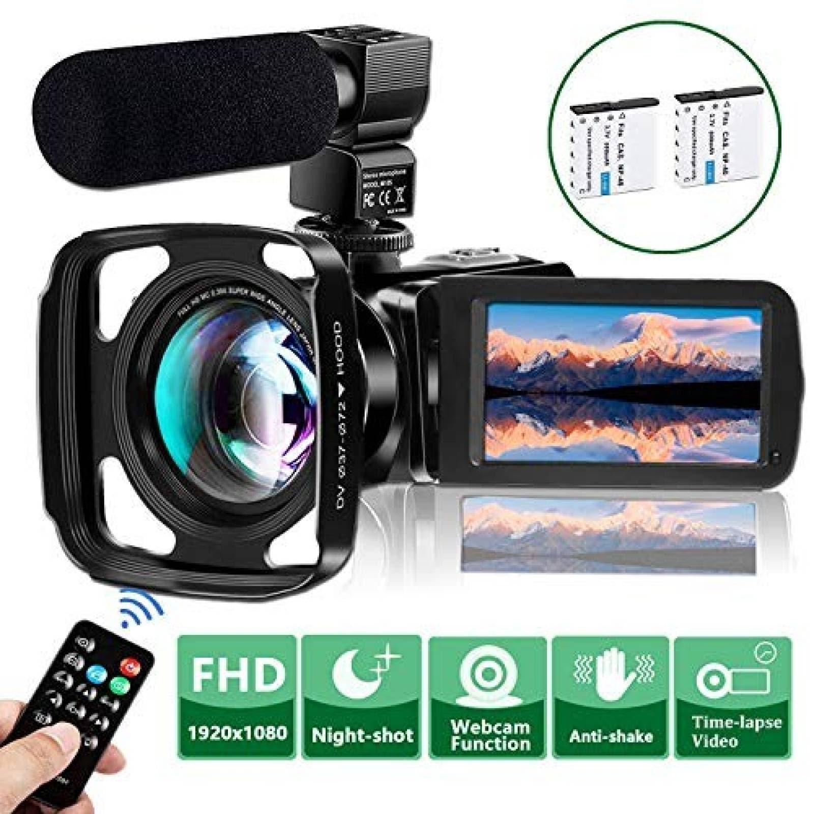 Kit cámara de video VideoSky gran angular 2 baterías -Negro