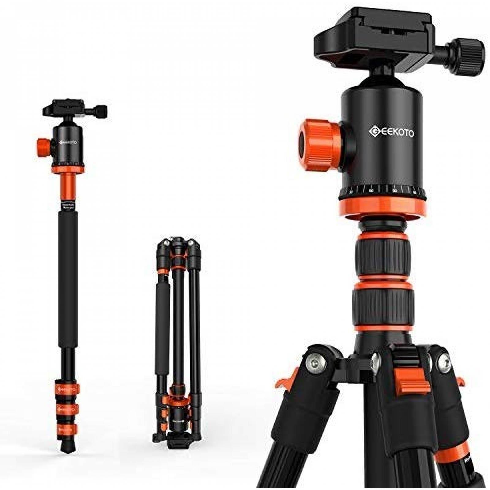 "Trípode GEEKOTO para cámara DSLR 77"" aluminio -negro/naranja"