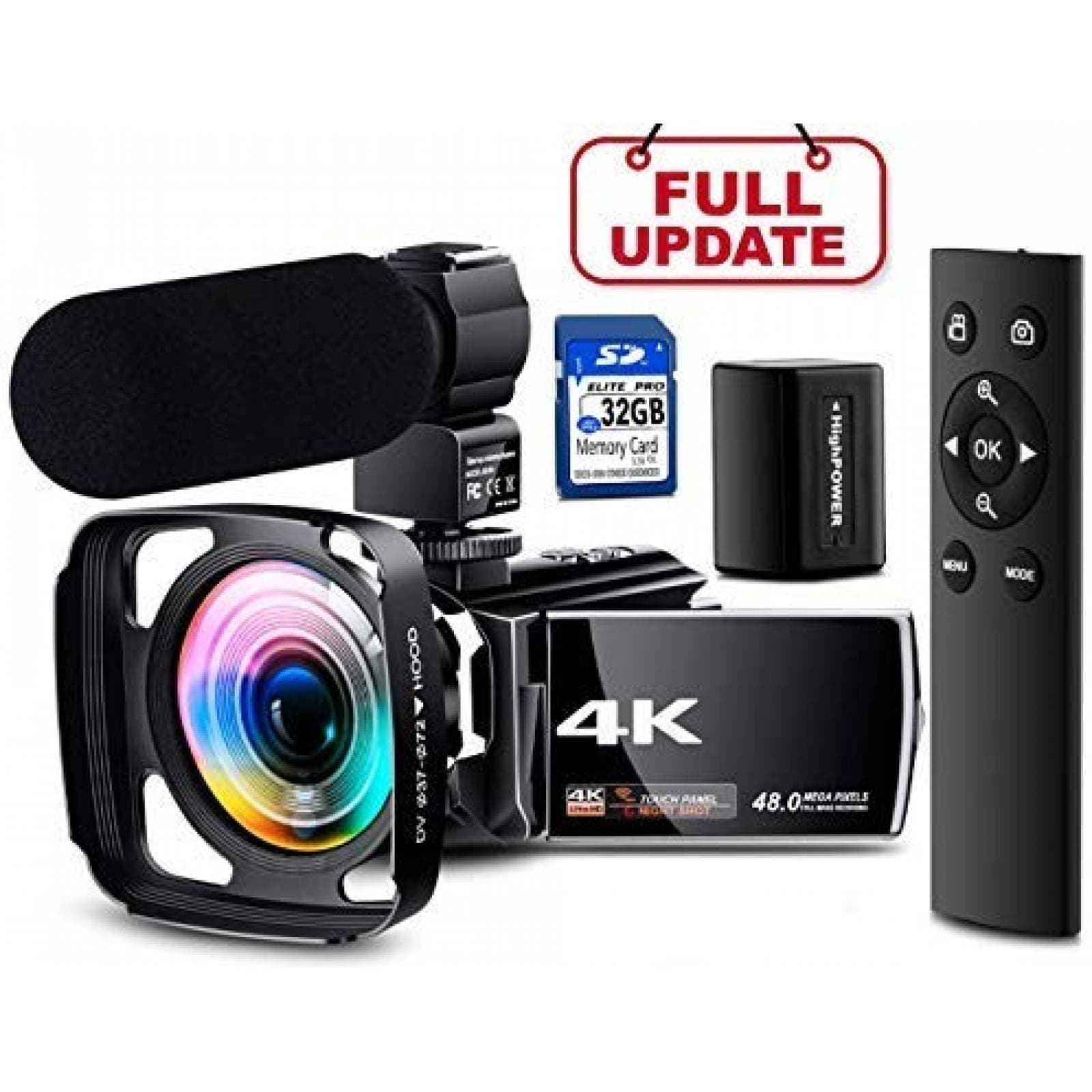 Cámara de video NAPATEK HD 4K 60FPS gran angular -Negro