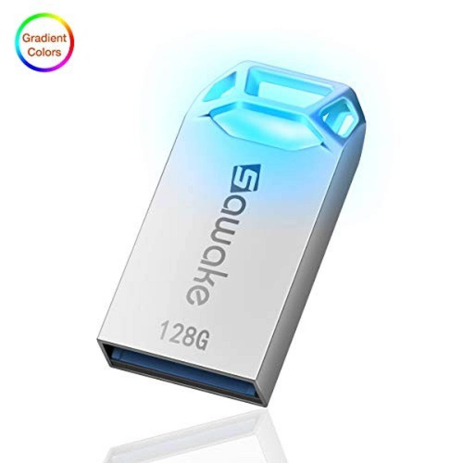 Memoria flash USB SAWAKE USB 3.0 con llavero 128GB -Plata