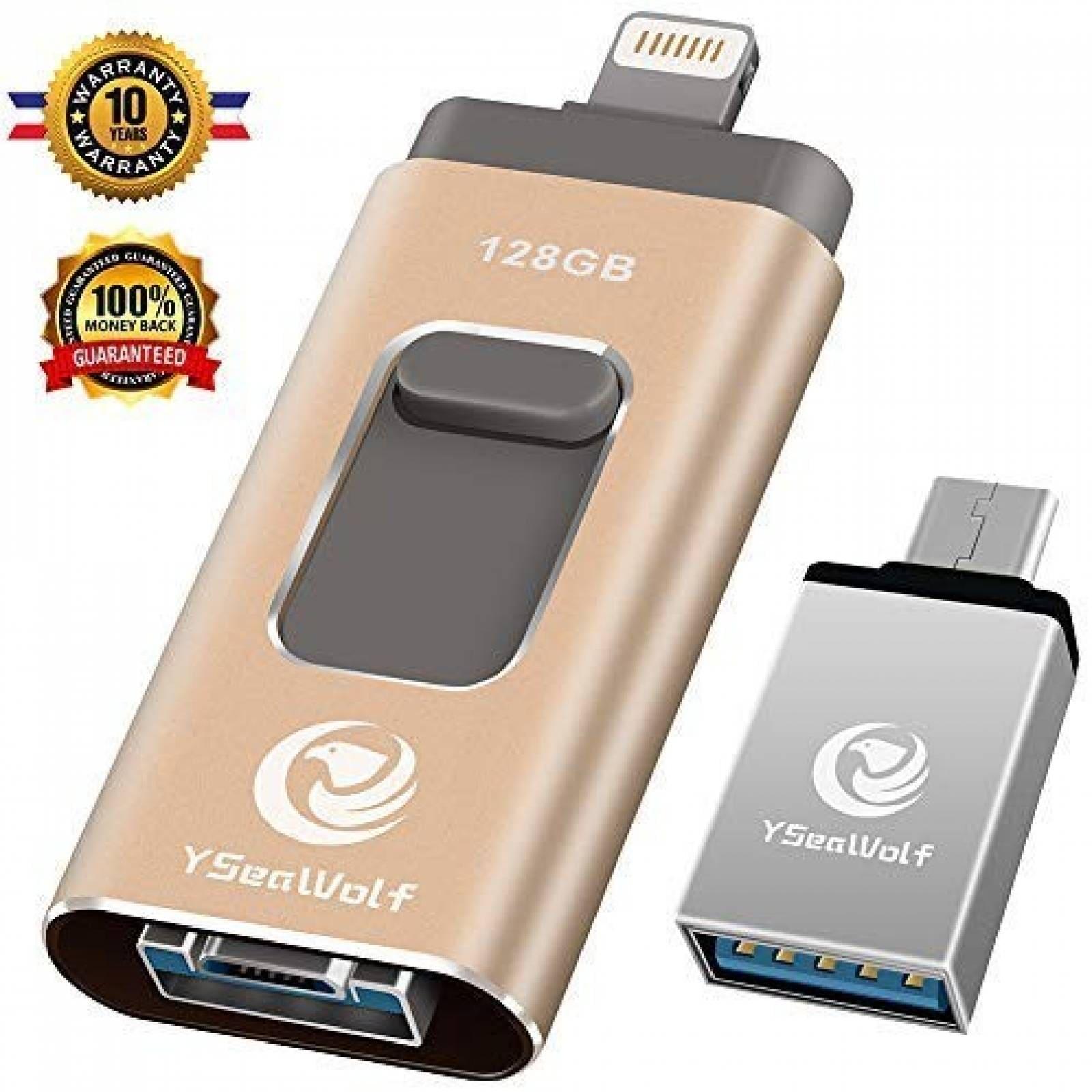 Memoria flash USB YSeaWolf Para iPhone 128GB -Dorado