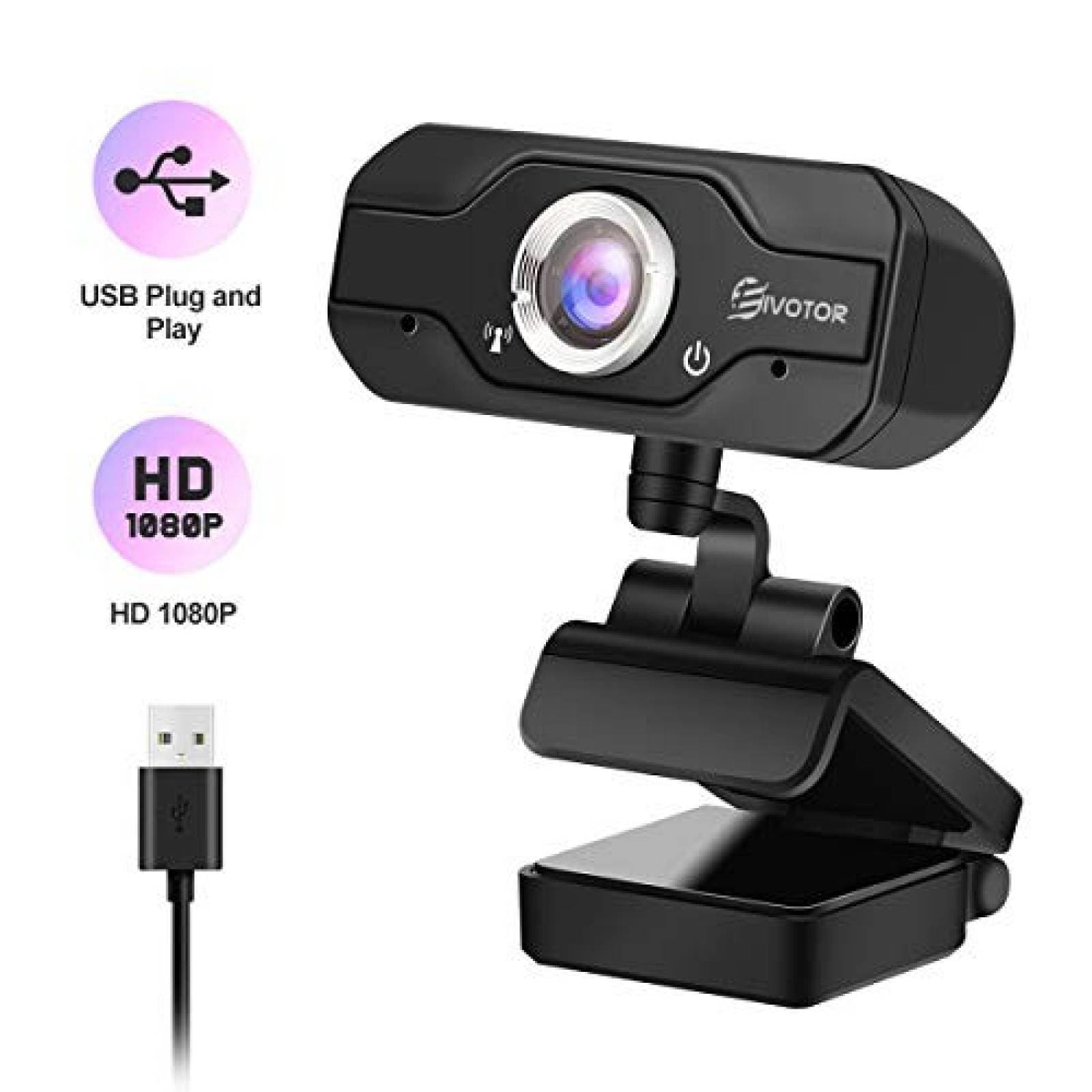 Webcam EIVOTOR HD 1080P USB c/micrófono plug and play -Negro