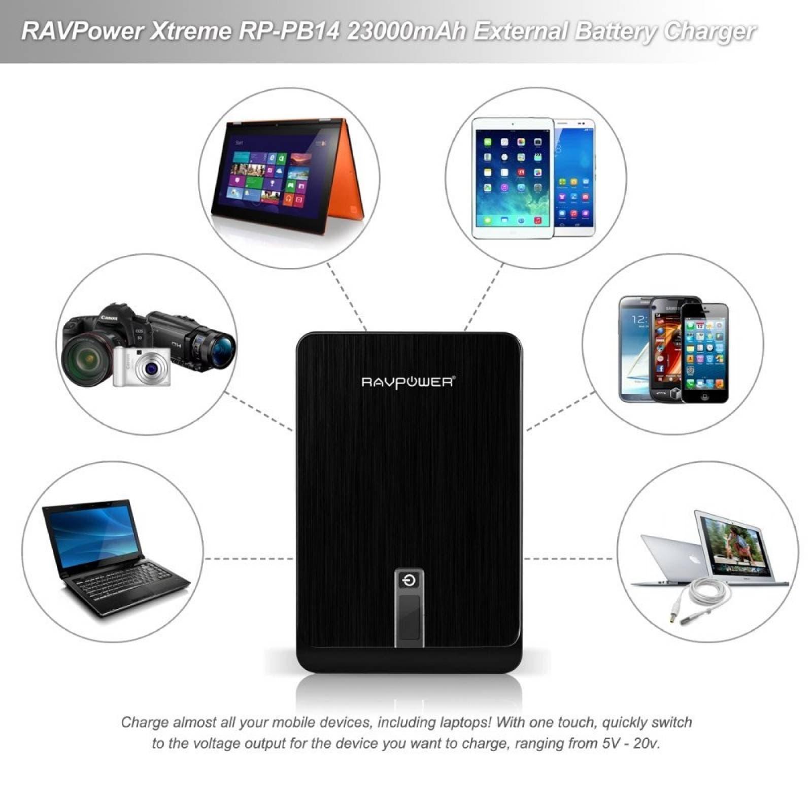 RAVPower 23000mAh cargador portátil 4.5A DC salida externa b