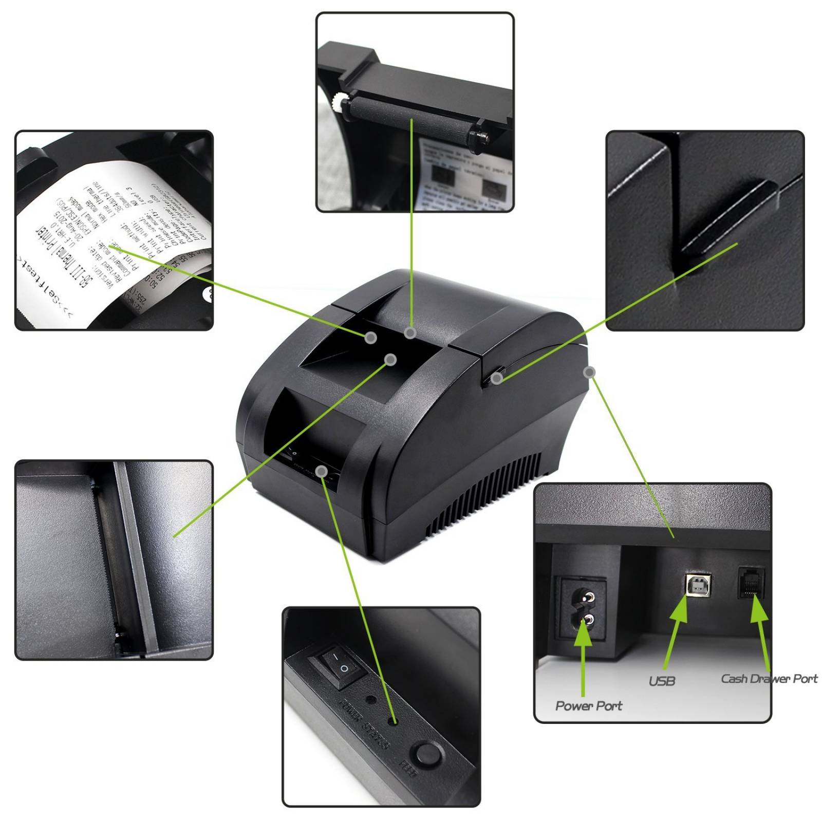 58MM USB recibo térmico PrinterSymcode alta velocidad impres