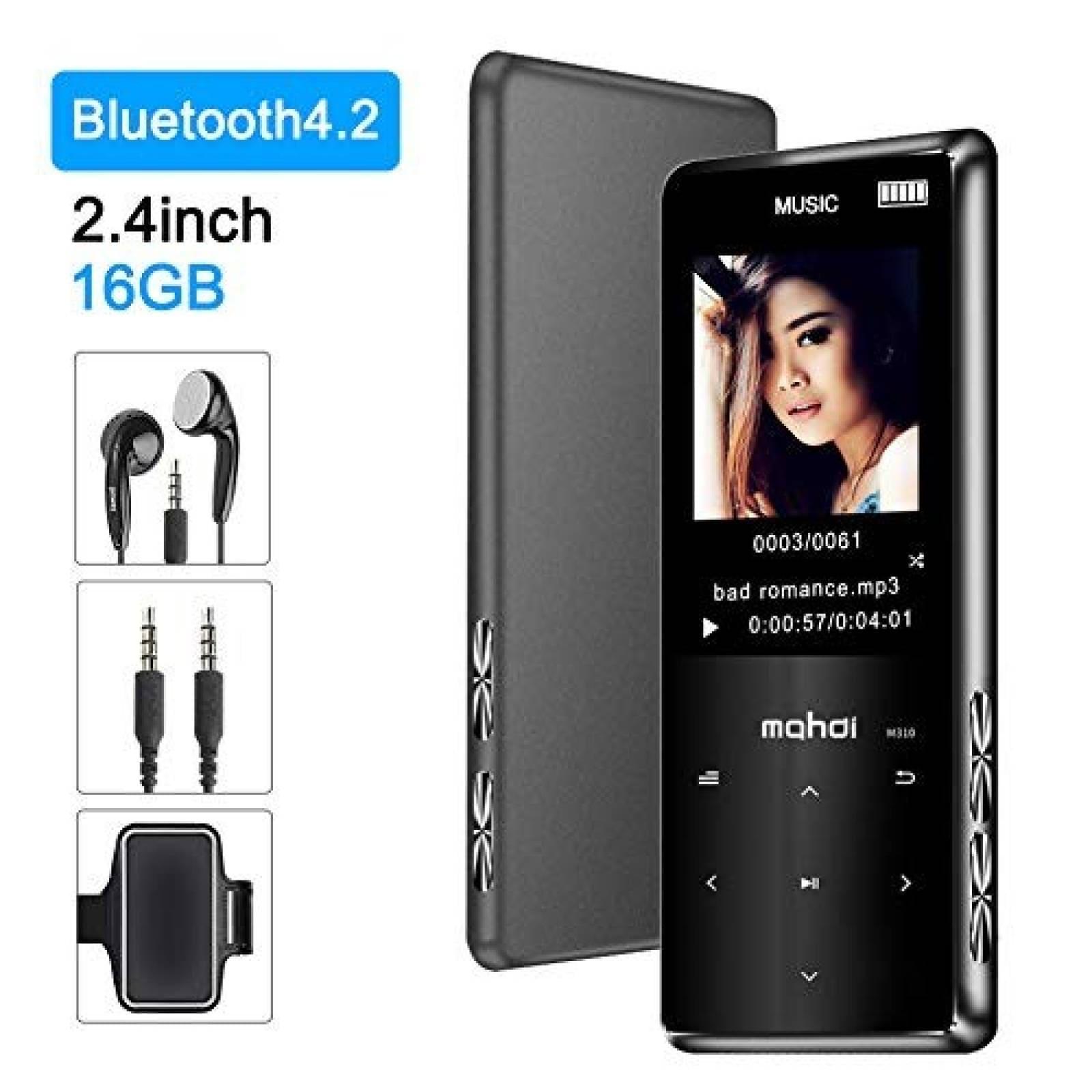 Reproductor MP3 Jimwey 16GB Radio FM Bluetooth 4.2 -Negro