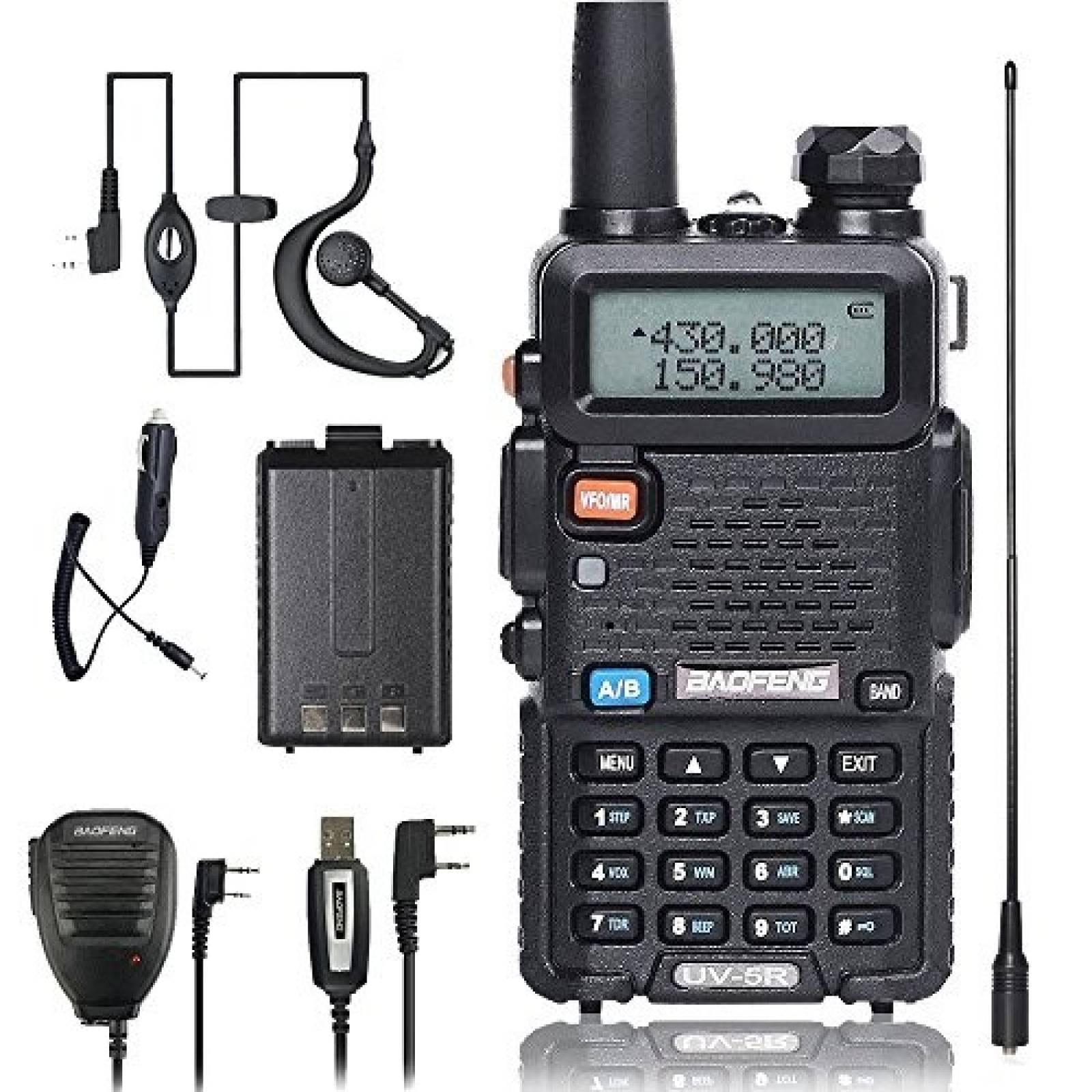 Radio dos vías BaoFeng UV-5R Cargador de Auto Mic y Antena