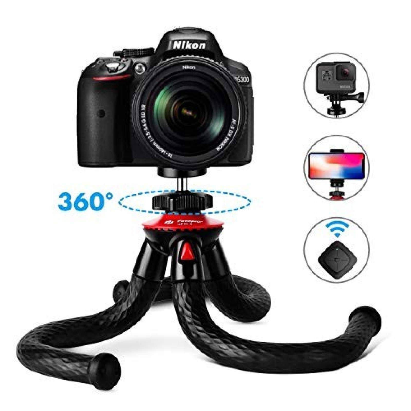 Tripode Fotopro para GoPro Smartphone DSLR 12'' Flexible