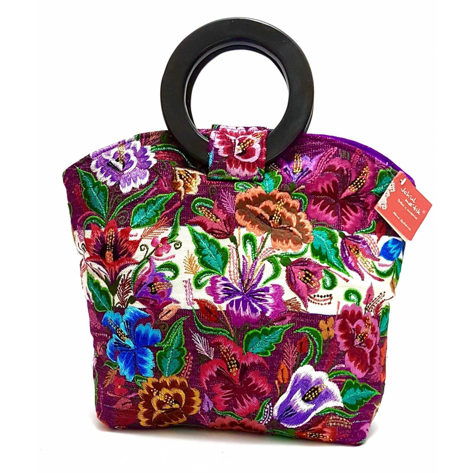 Bolsa De Diseñadora Mexicana Con Bordado Artesanal Chiapanenco Jchul metik Modelo Tenam Flores Lilas