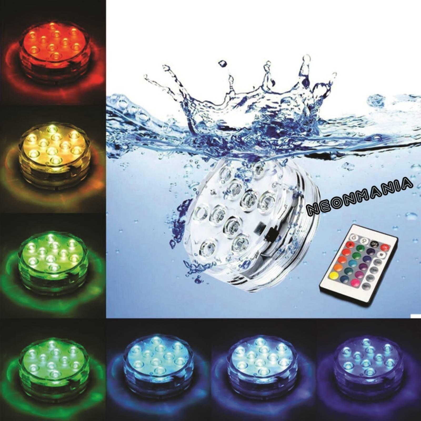 BASE LAMPARA RGB 10 LED SUMERGIBLE CONTROL REMOTO DECORACION