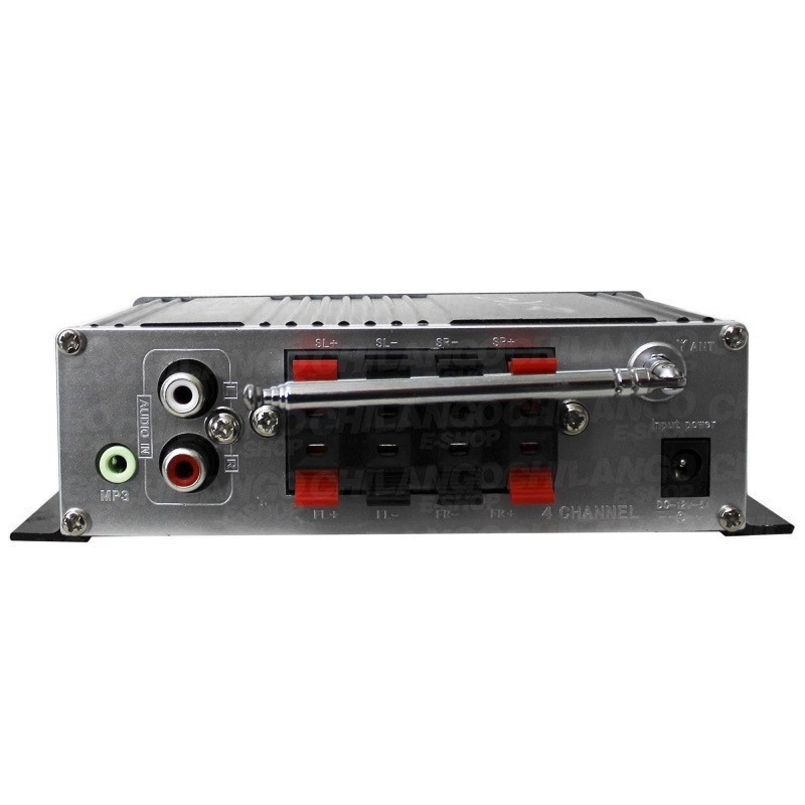 AMPLIFICADOR MINI 4 CANALES BLUETOOTH USB SD FM 010 150