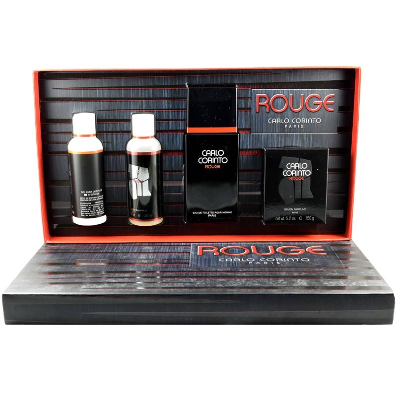 Set Carlo Corinto Rouge 4Pzs 100 Ml Edt Spray +Jabon 150G + Shower Gel 120 Ml + After Shave 120 Ml De Carlo Corinto de Caballero