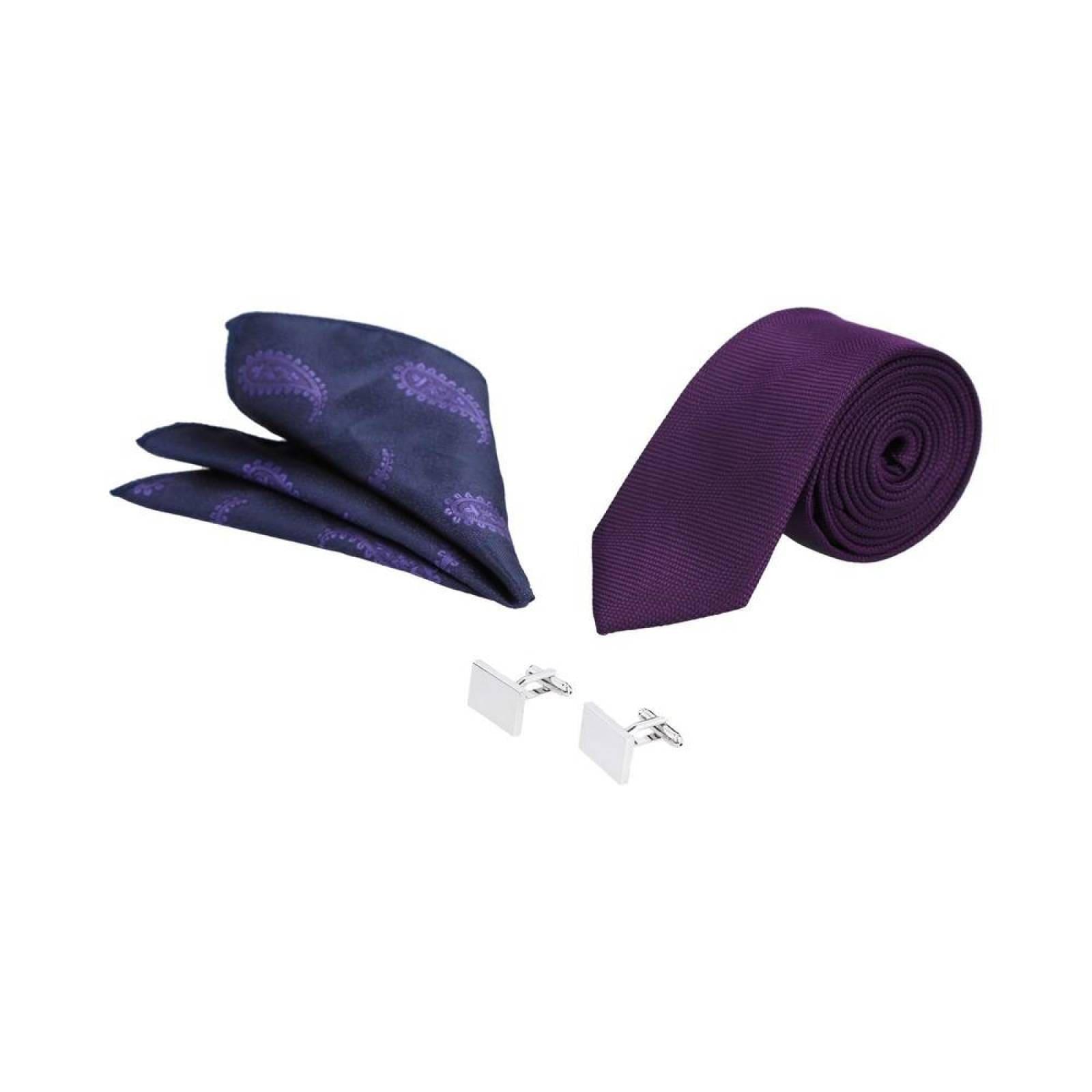 Set Royal Flush de corbata mancuernillas y pañuelo en tonos morados