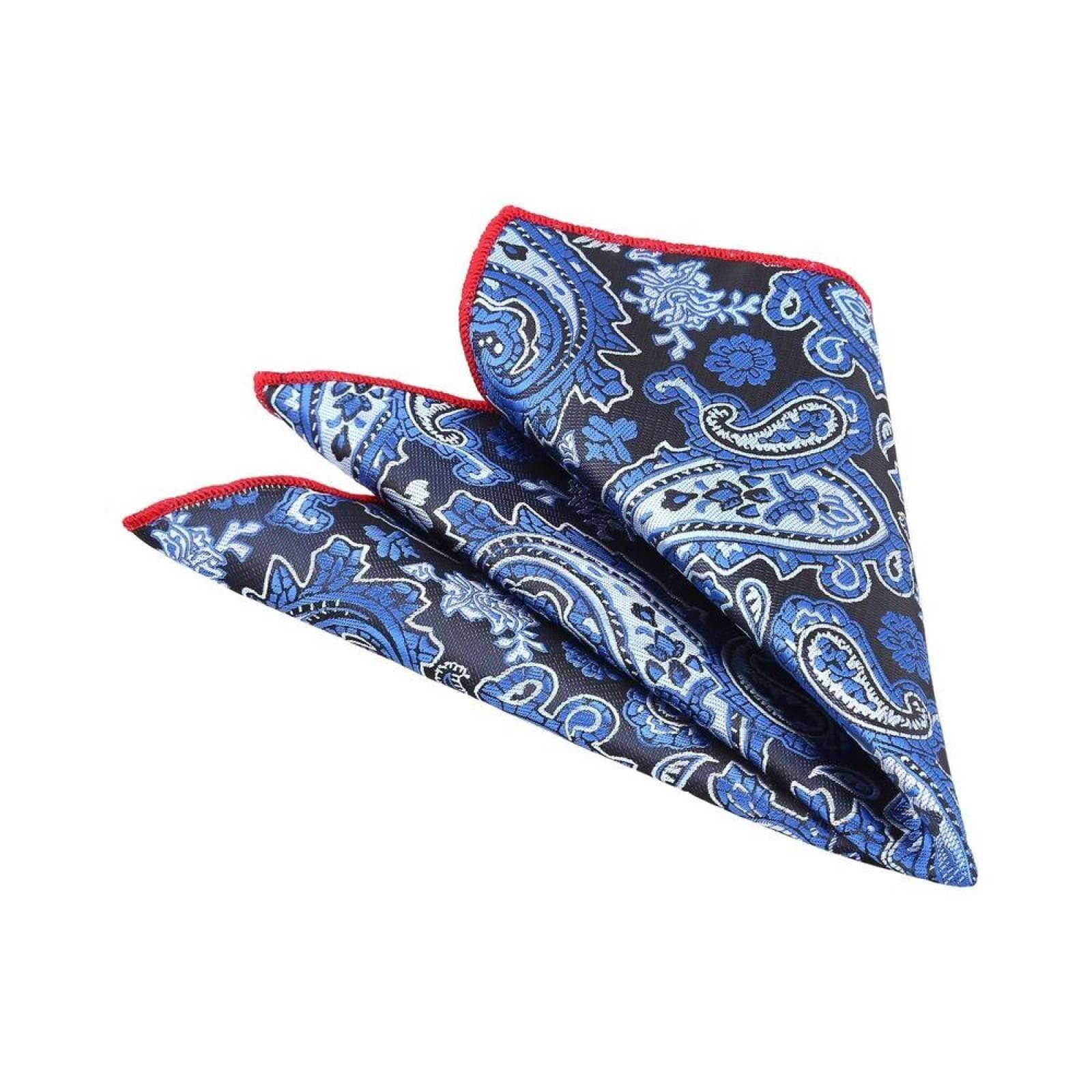 Pañuelo Royal Flush azul marino con cachemira azul rey ribete rojo poliéster