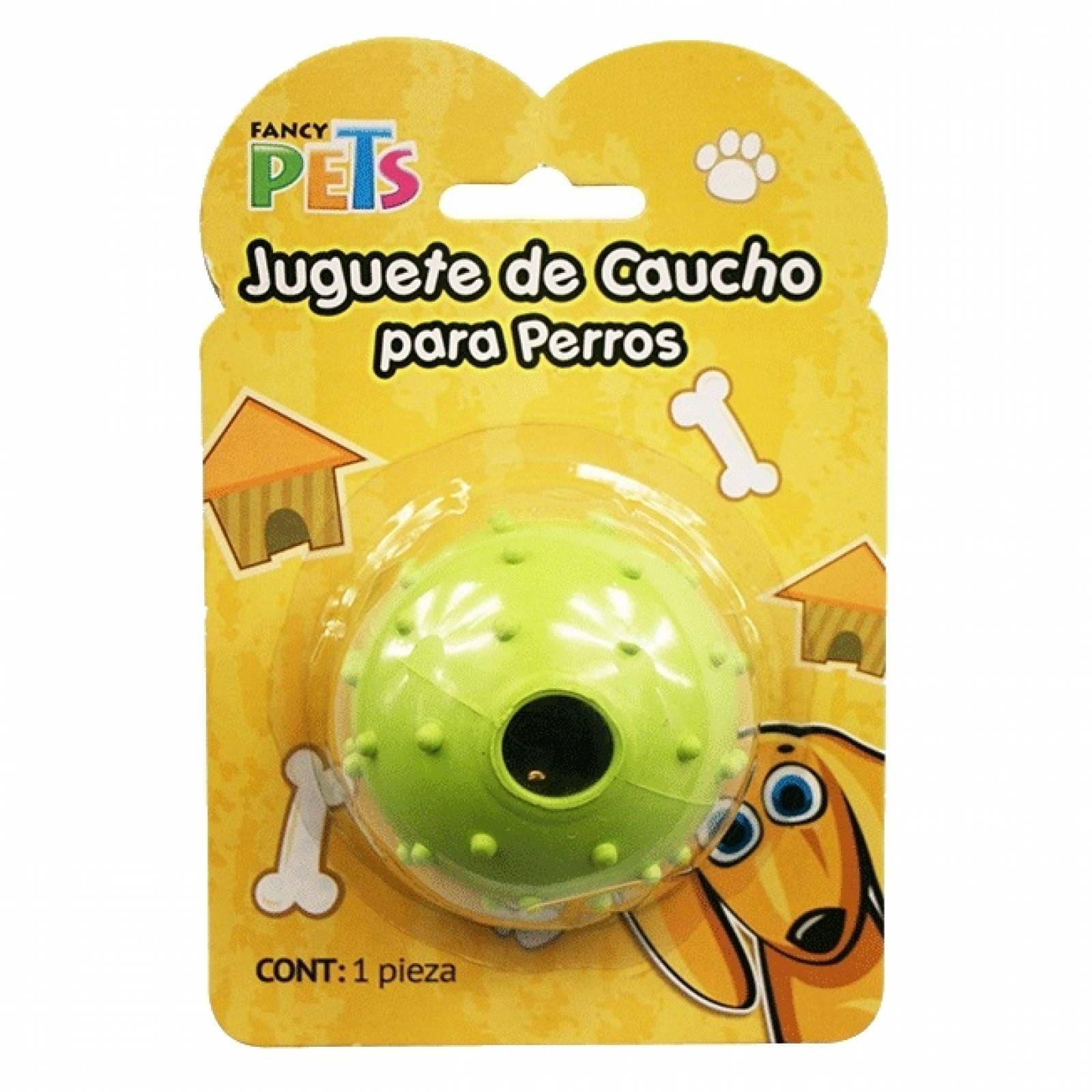 JUGUETE CAUCHO TEXTURA BOLA CASCABEL 6,5 cm PERRO FANCY PETS