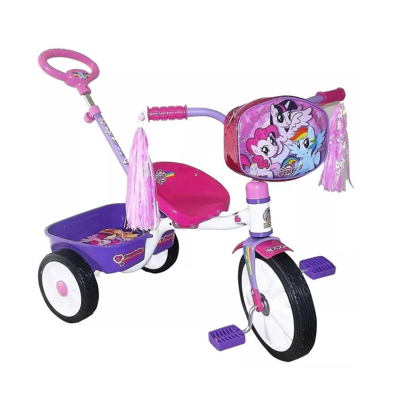 Triciclo con barra de empuje apache my little pony r12 nina