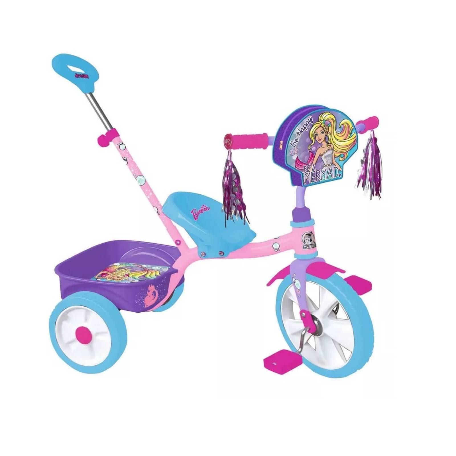 Triciclo con barra de empuje apache barbie r12 nina apache