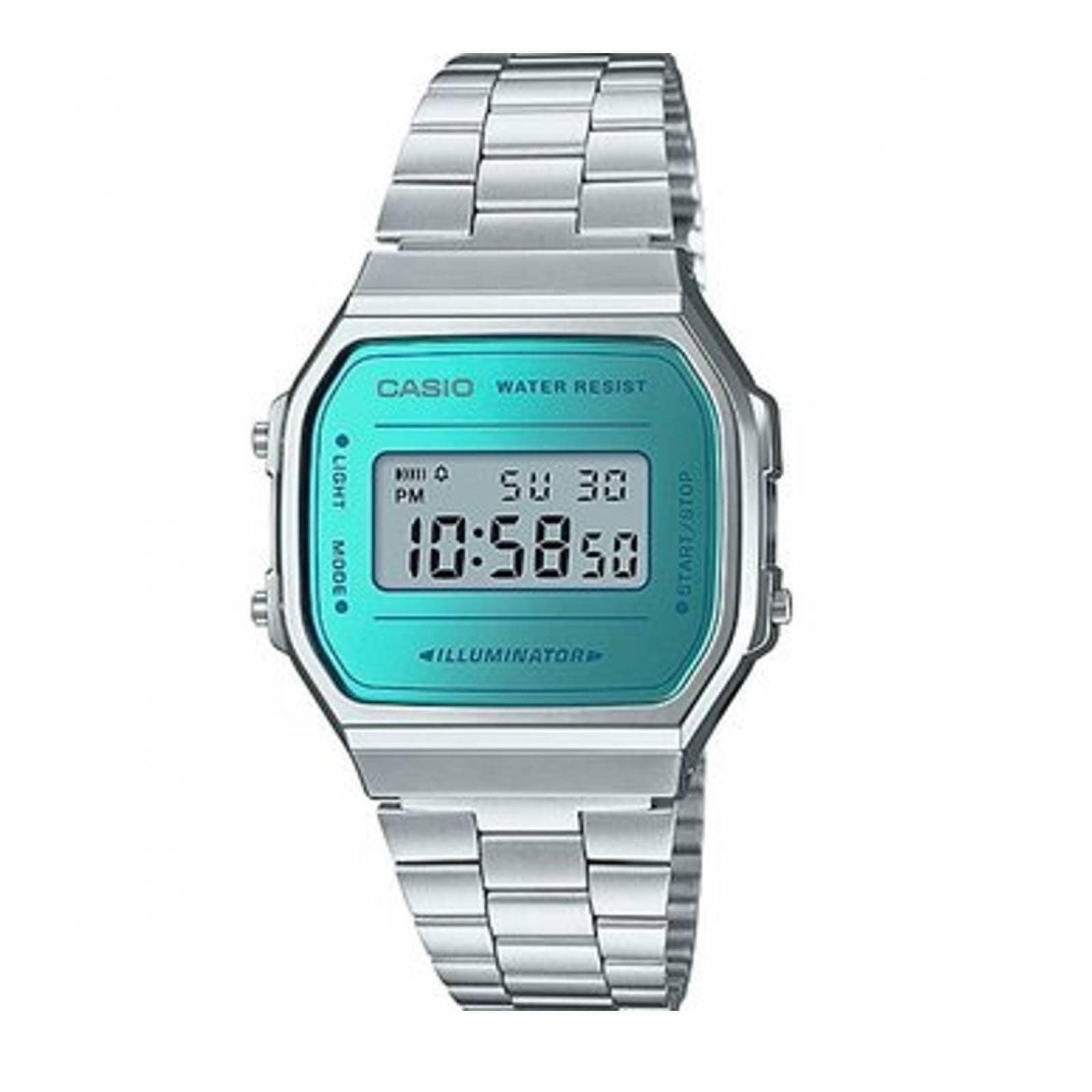 74901c2f2397 Reloj Casio Retro Vintage A168 Plata Espejo Azul- 100% Original Cfmx