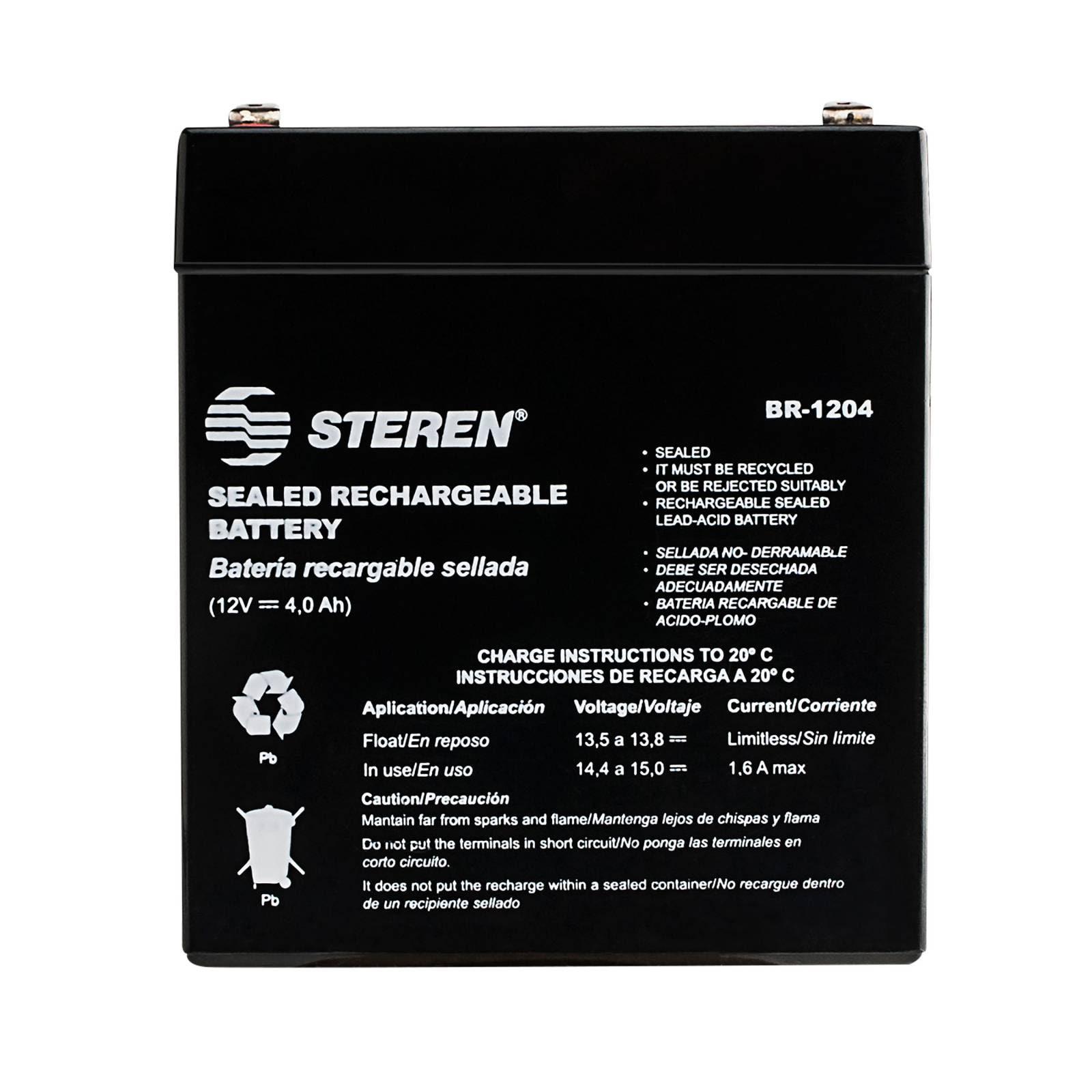 Batería sellada de ácido-plomo, 12 Vcc  4 Ah