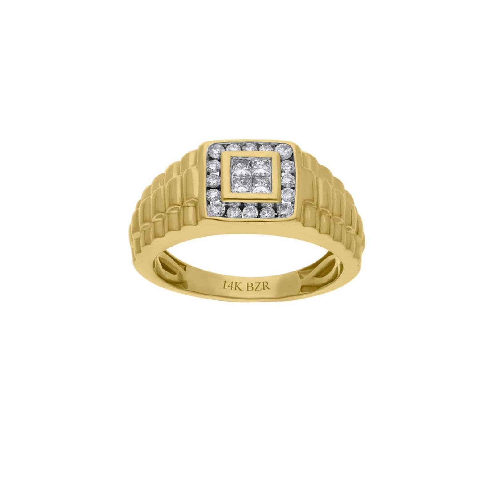 Anillo BIZZARRO de Oro Amarillo 14K con 50Pts de Diamante (H-J, Vs1-Vs2) para Caballero