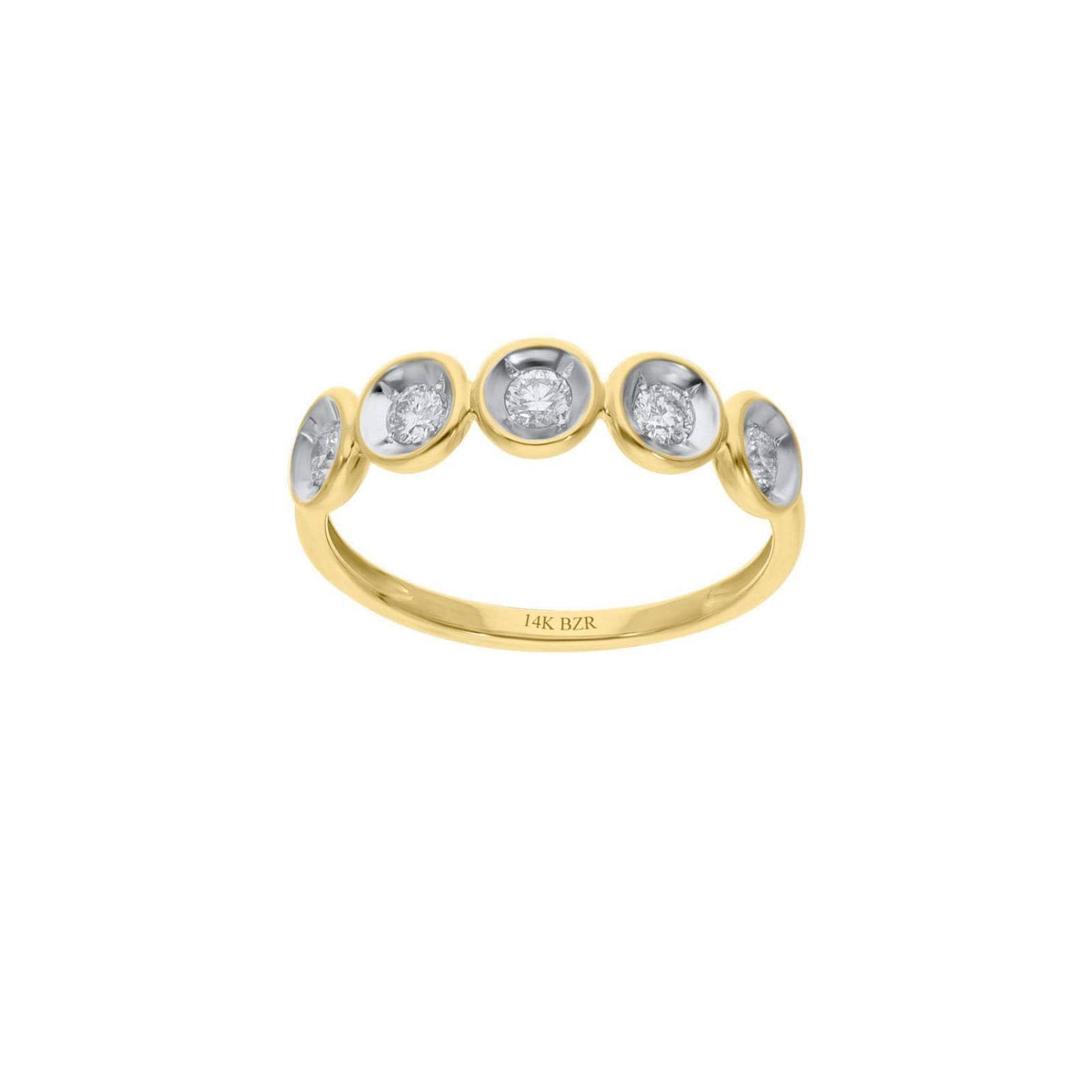 Anillo BIZZARRO de Oro Amarillo 14K con 30 Pts de Diamante (G-H) (Vs1-Vs2)