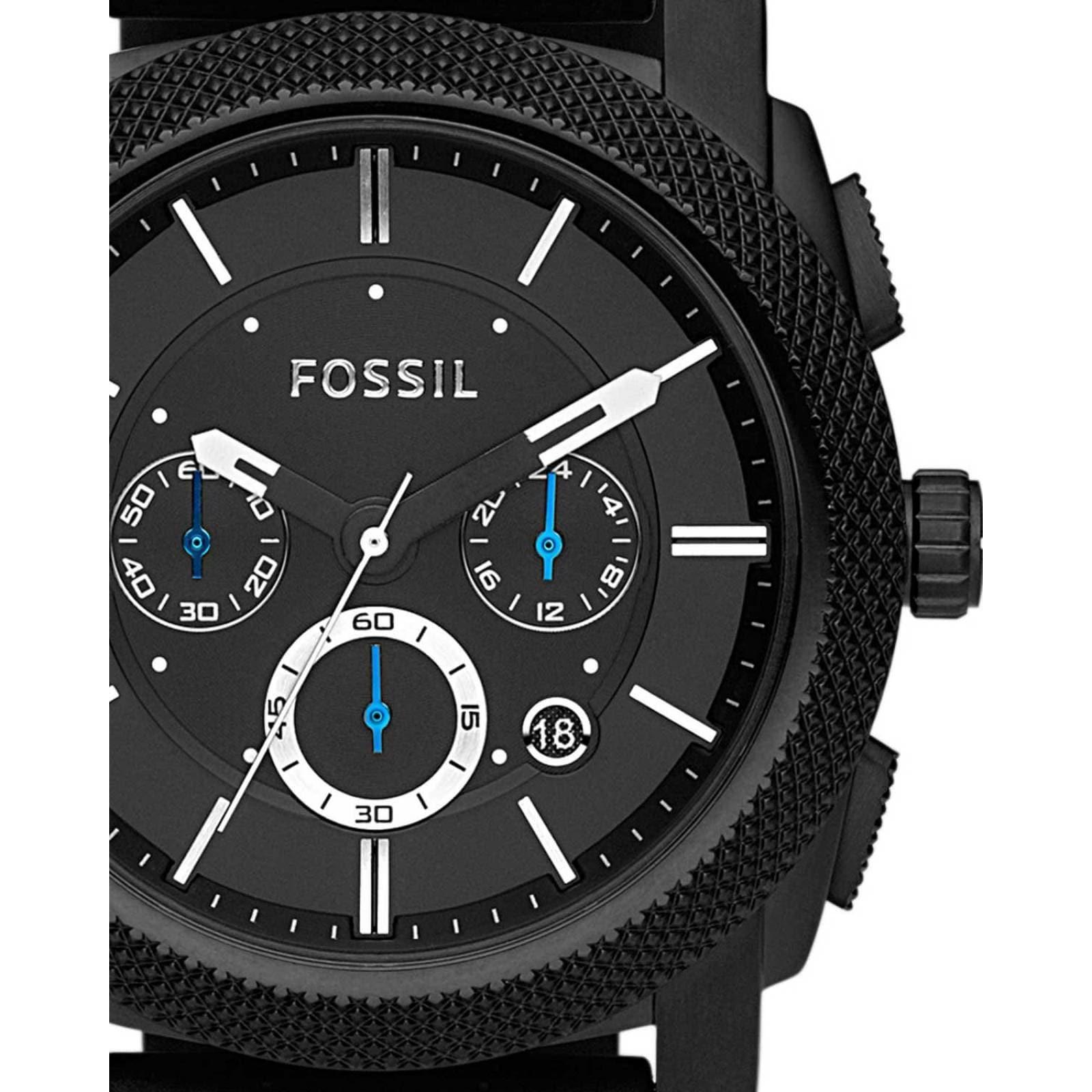 28c36fb58d1d Reloj fossil machine chronograph black silicone para caballero
