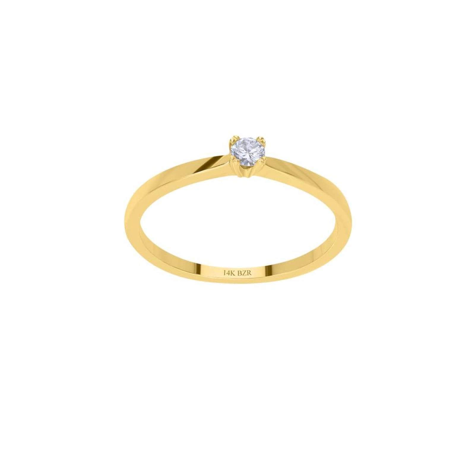Anillo BIZZARRO Solitario Oro Amarillo 14K con 10 Pts de Diamante