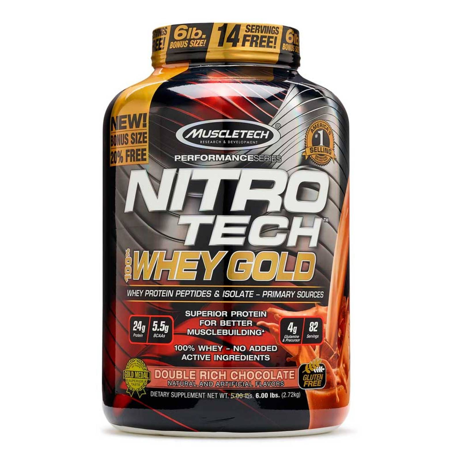 Proteina Muscletech Nitro-tech Whey Gold 5.5 Lbs Doble Rich Chocolate