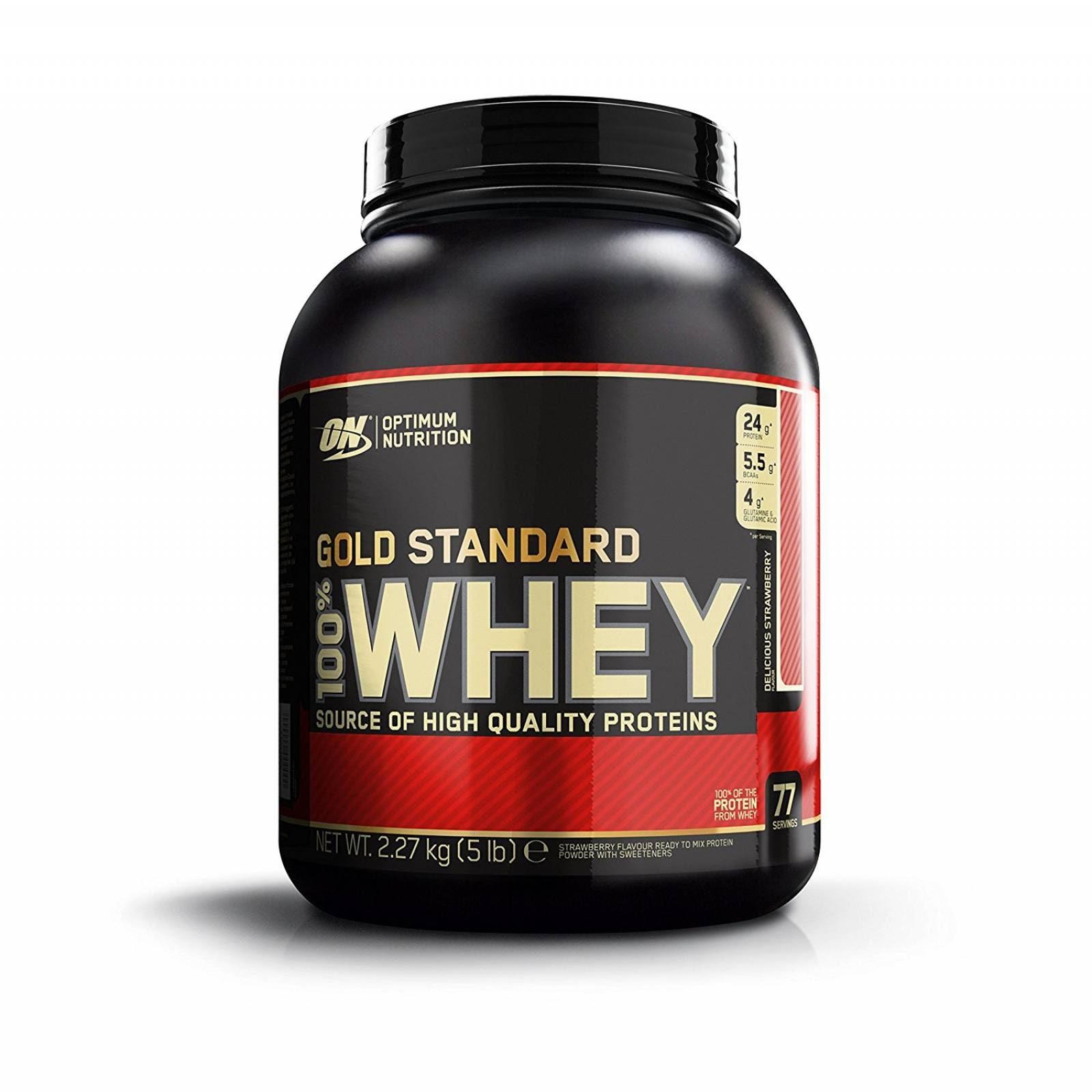 Proteina On Gold Standard Sabor Fresa 100% Whey 5 Lbs