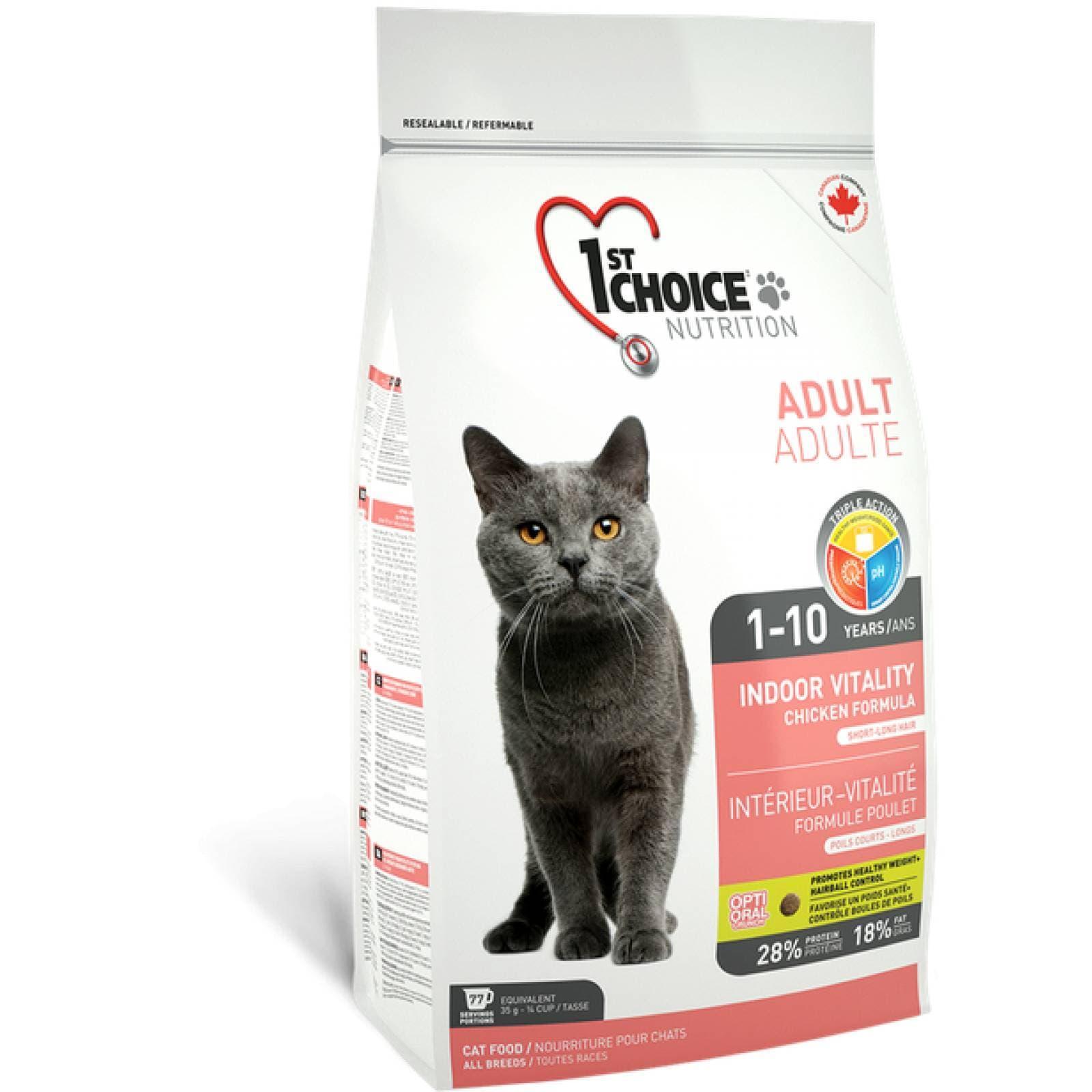 1st Choice Alimento para Gato Adulto Indoor Vitality Fórmula de pollo 10 kg