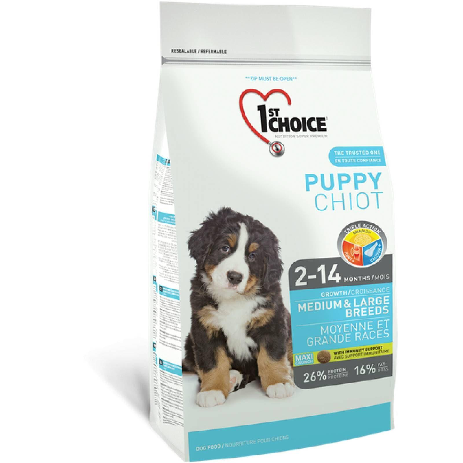 1ST Choice Alimento para Cachorro Raza Mediana y Grande Fórmula de pollo Edad: 2-14 meses 2.72 kg