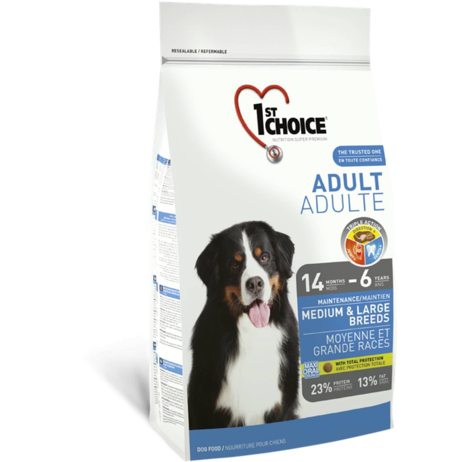 1ST Choice Alimento para Perro Adulto Raza Mediana y Grande Fórmula de pollo Edad: 14 meses  a 6 años 7 kg