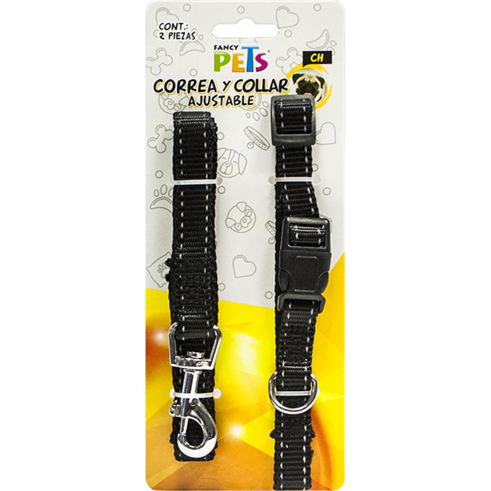 Fancy Pets Collar y Correa para Perro de Nylon ajustable con Bandas reflejantes Chica