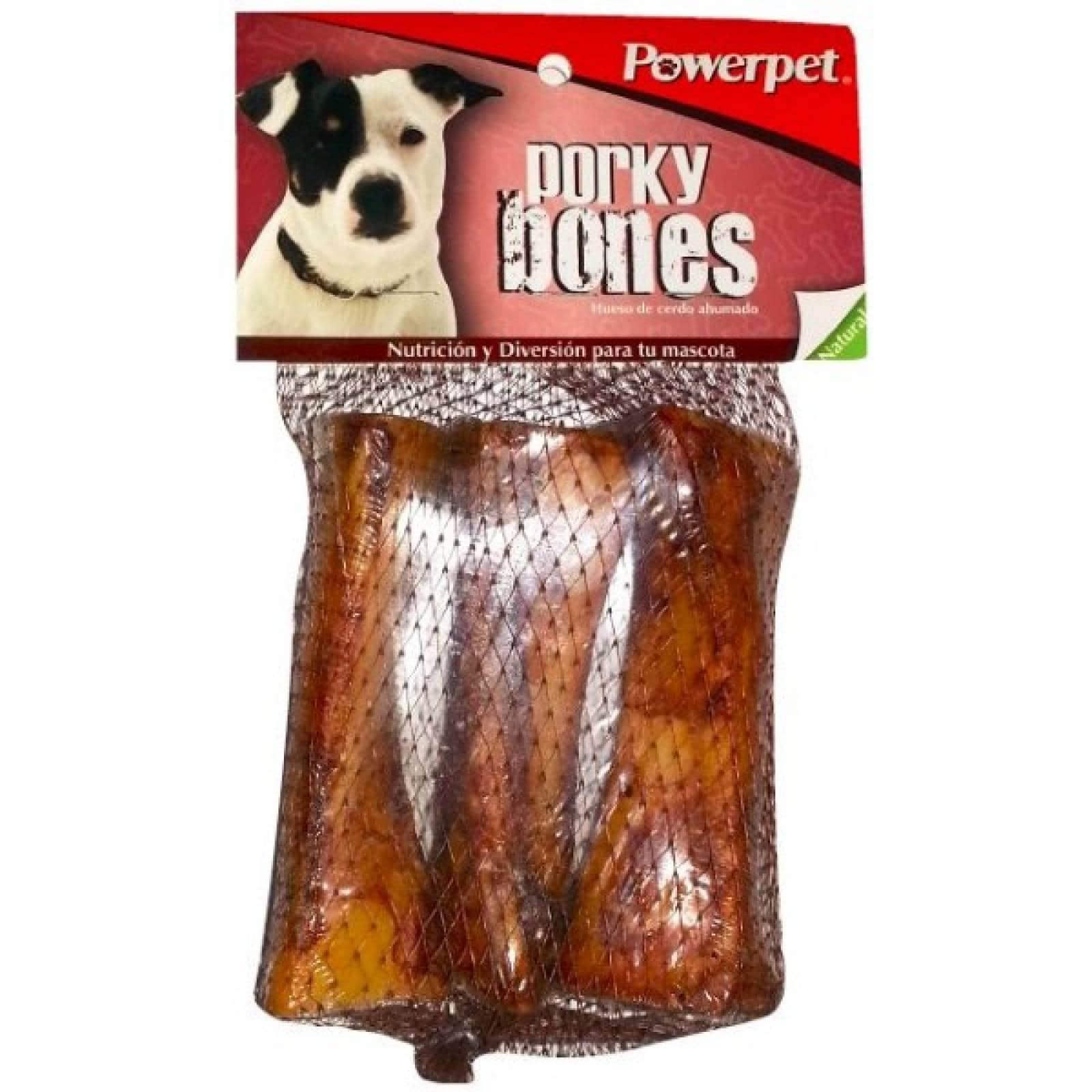 Powerpet Premio de Carnaza para Perro Hueso de Puerco para masticar 3 pz