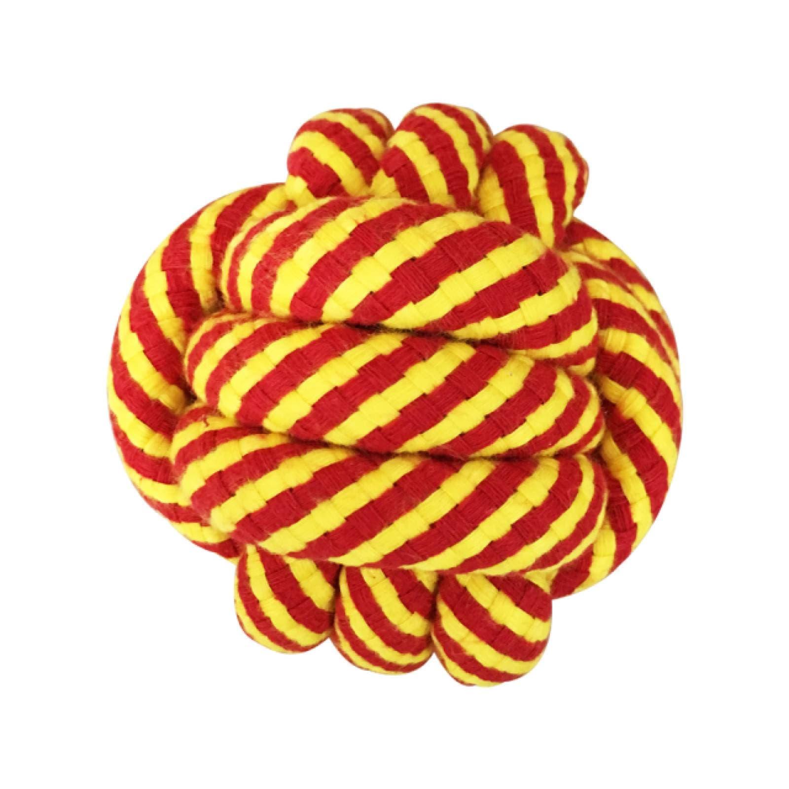 Fancy Pets Juguete para Perro Bola de Cuerda Roja-Amarillo de 8 cm