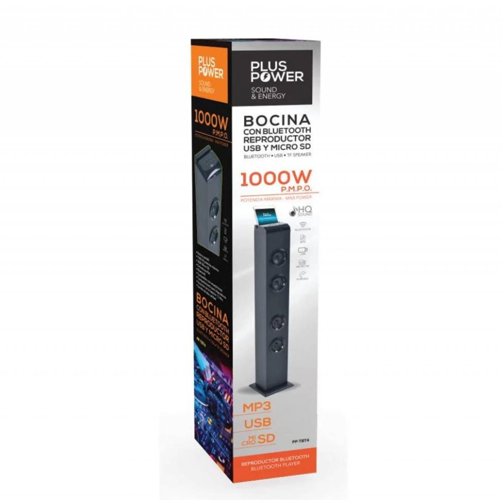 Bocina Tipo Torre Bt Negra Bluetooth Usb / Micro Sd  Pp-tbt4