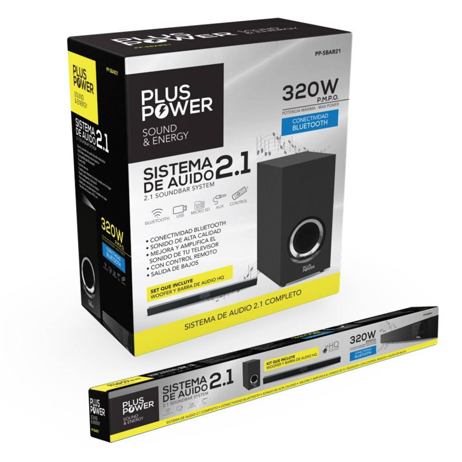 Barra De Sonido Con Woofer Plus Power Bluetooth Pp-sbar2.1