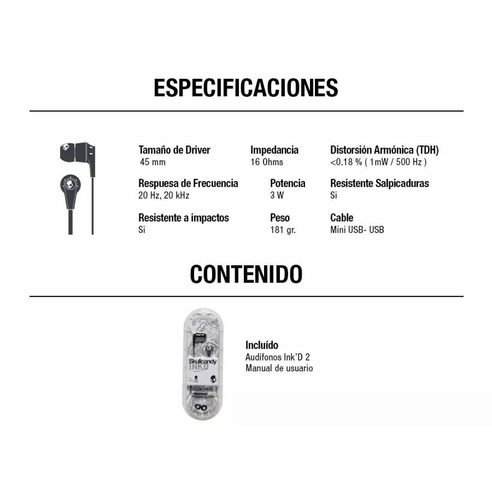 Audifonos Manos Libres Skullcandy Supreme Sound Ink d S2IKDY-010