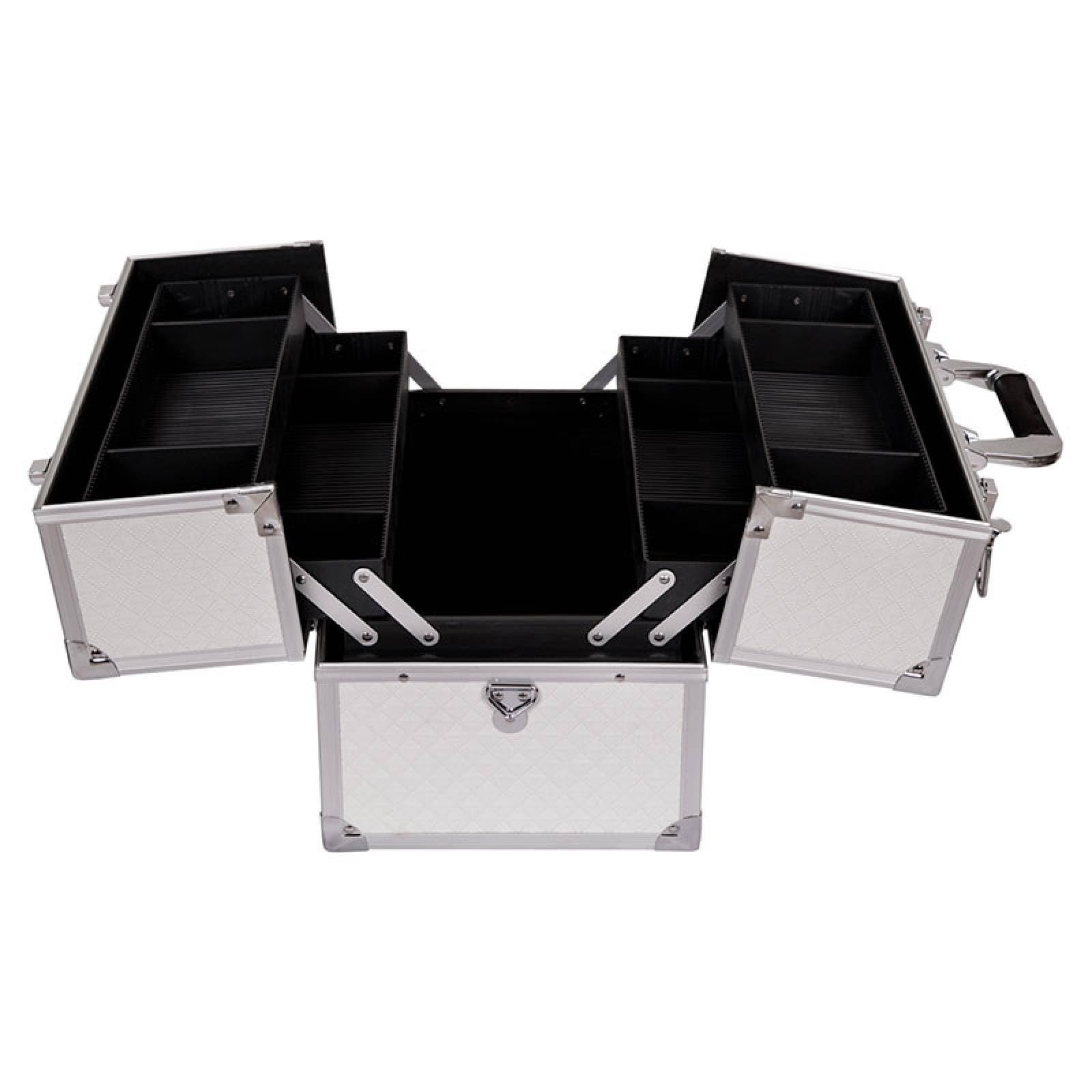 Neceser Maleta Portatil Cintas 4 Charolas Aluminio Blanco Ipi