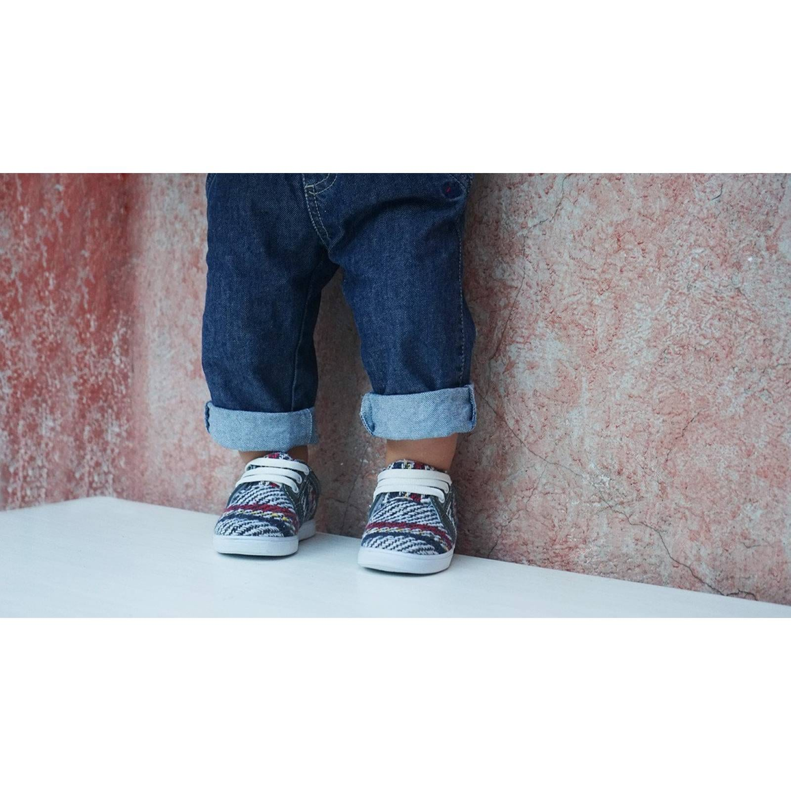 Tenis Zapato Casual Mini Simon Artesanal Infantil Gris Komoni Talla: 13