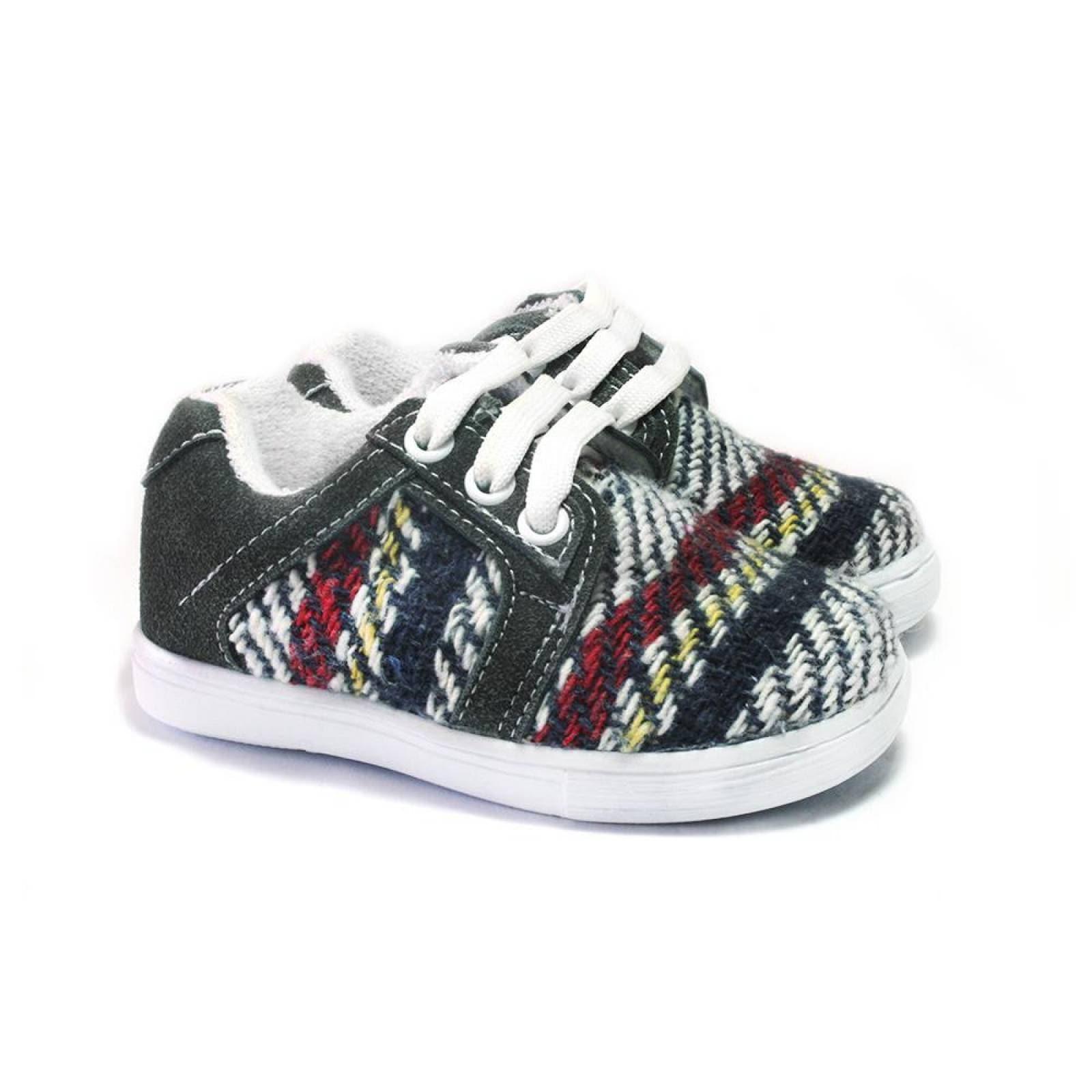 Tenis Zapato Casual Mini Simon Artesanal Infantil Gris Komoni Talla: 17