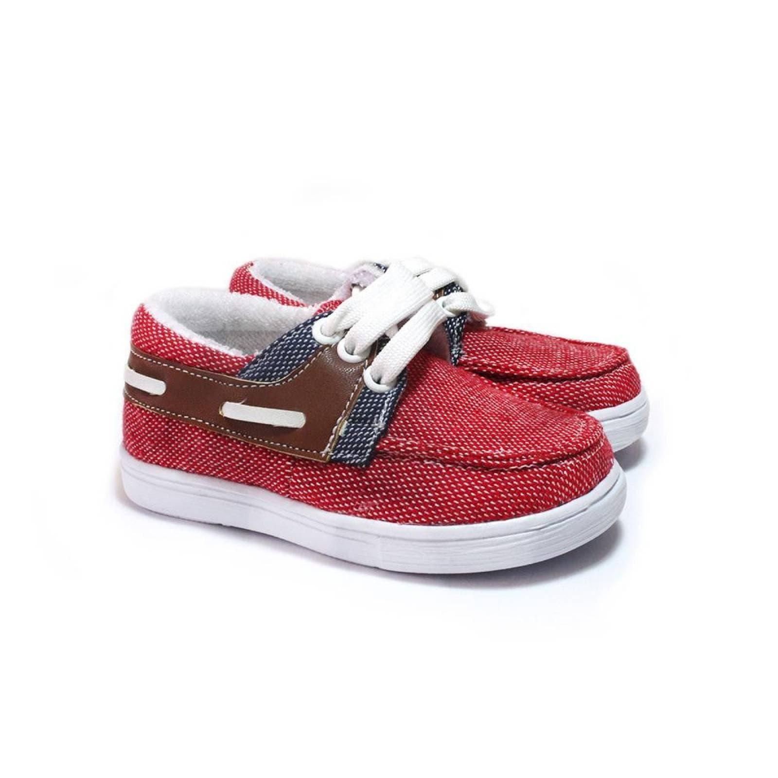 Tenis Zapato Casual Mini Fausto Artesanal Infantil Rojo Komoni Talla: 12