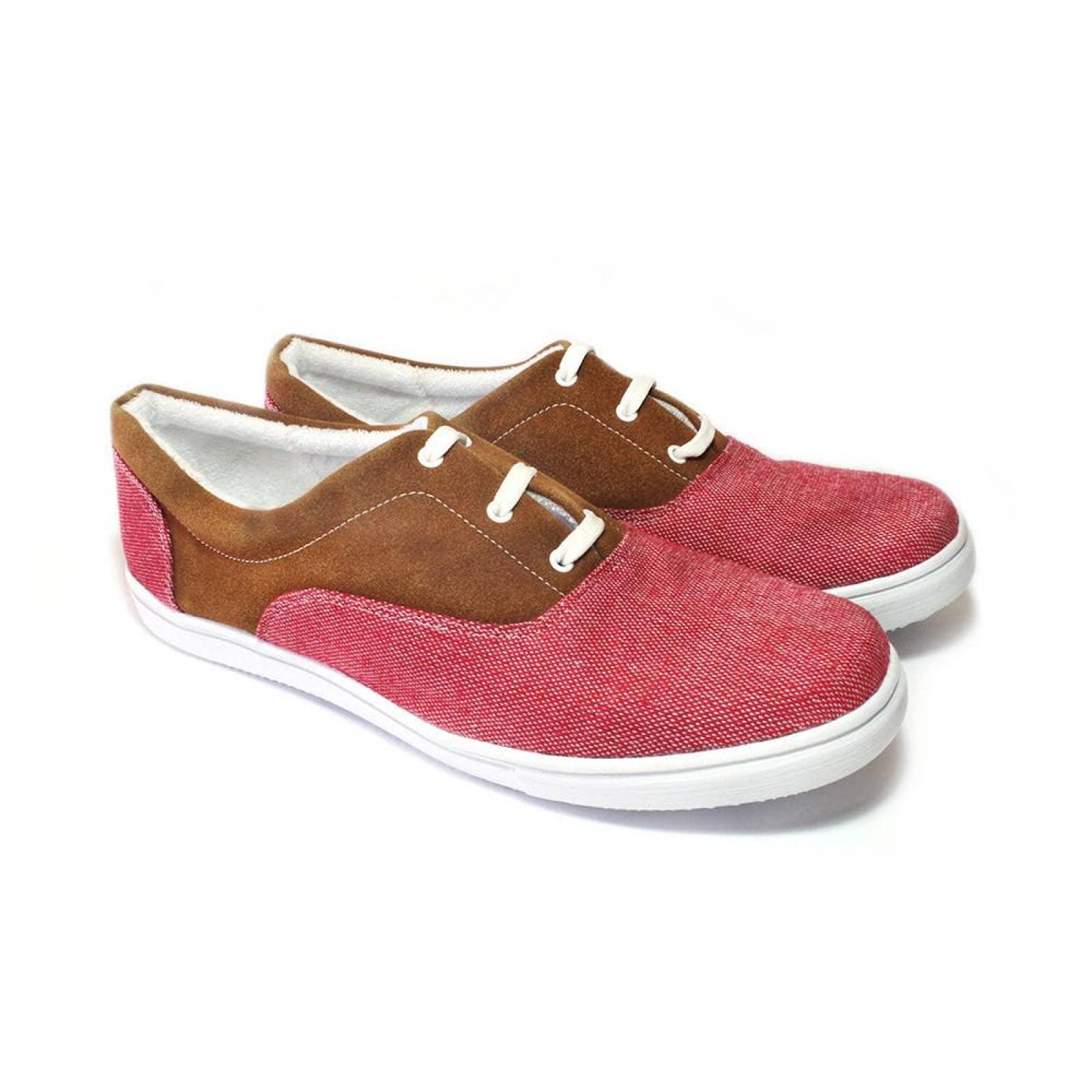 Tenis Zapato Casual Artesanal Tela Hombre Rufino Rojo Komoni Talla: 28