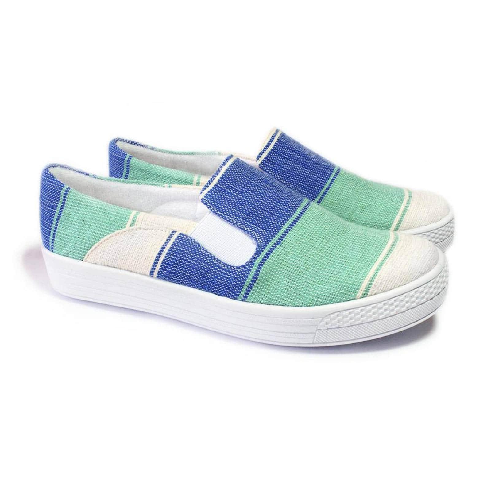 Tenis Zapato Slip On Artesanal Tela Mujer Lola Azul Komoni Talla 22
