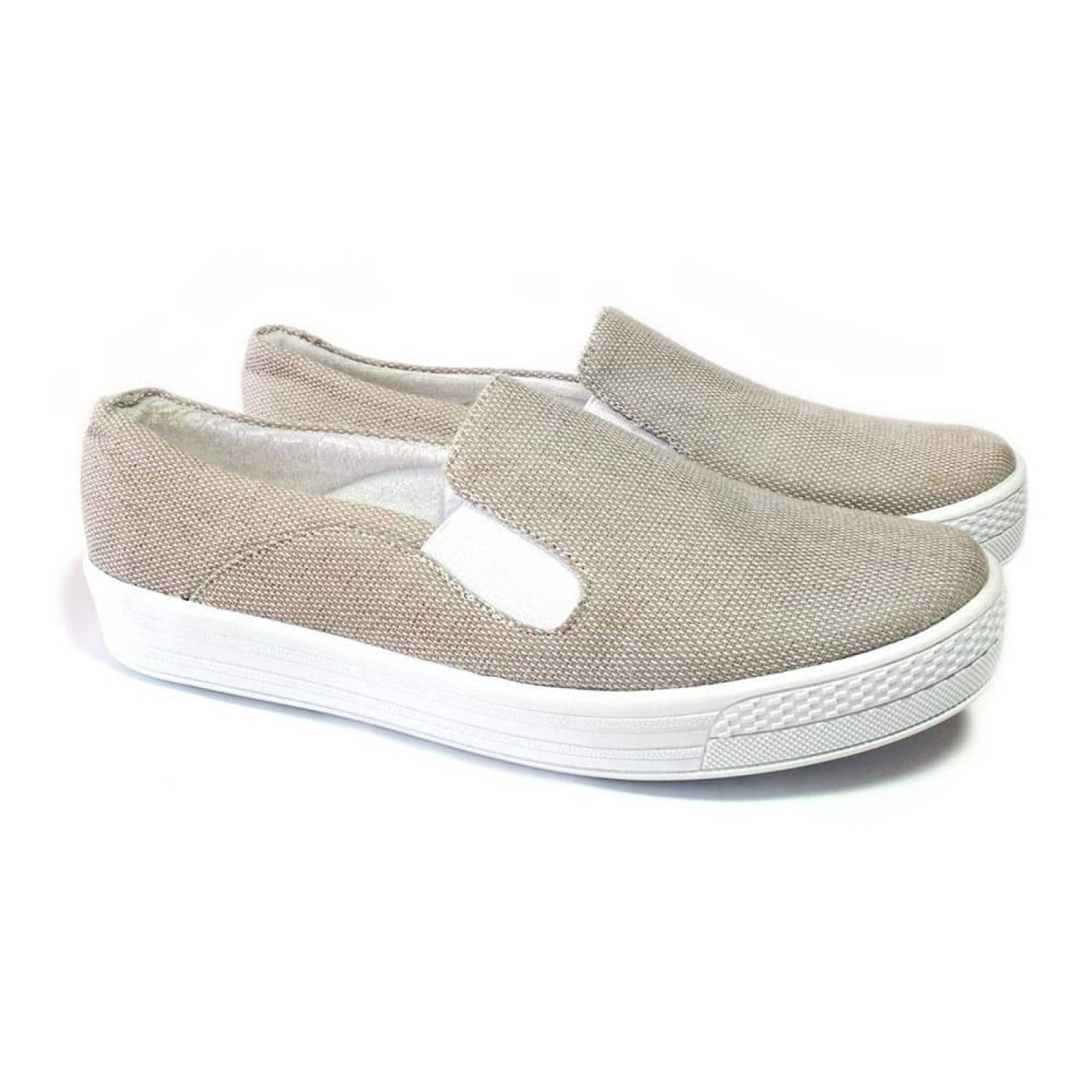 Tenis Zapato Slip On Artesanal Tela Mujer Lola Beige Komoni Talla: 24