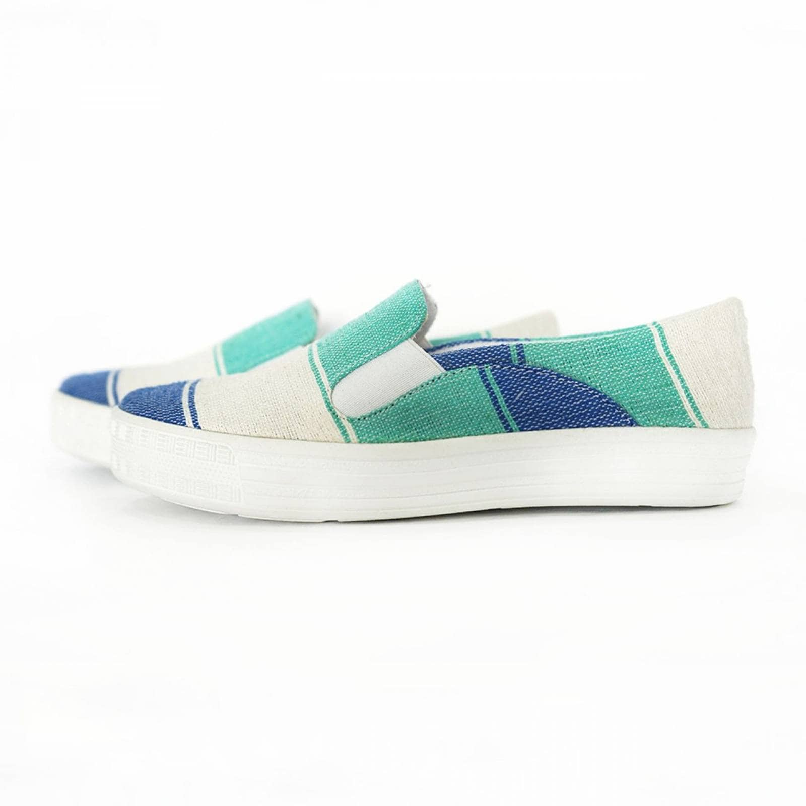 Tenis Zapato Slip On Artesanal Tela Mujer Lola Azul Komoni Talla: 26