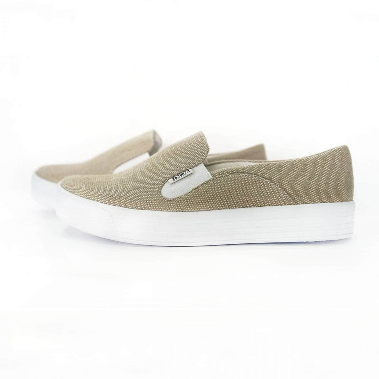 Tenis Zapato Slip On Artesanal Tela Mujer Lola Beige Komoni Talla: 25